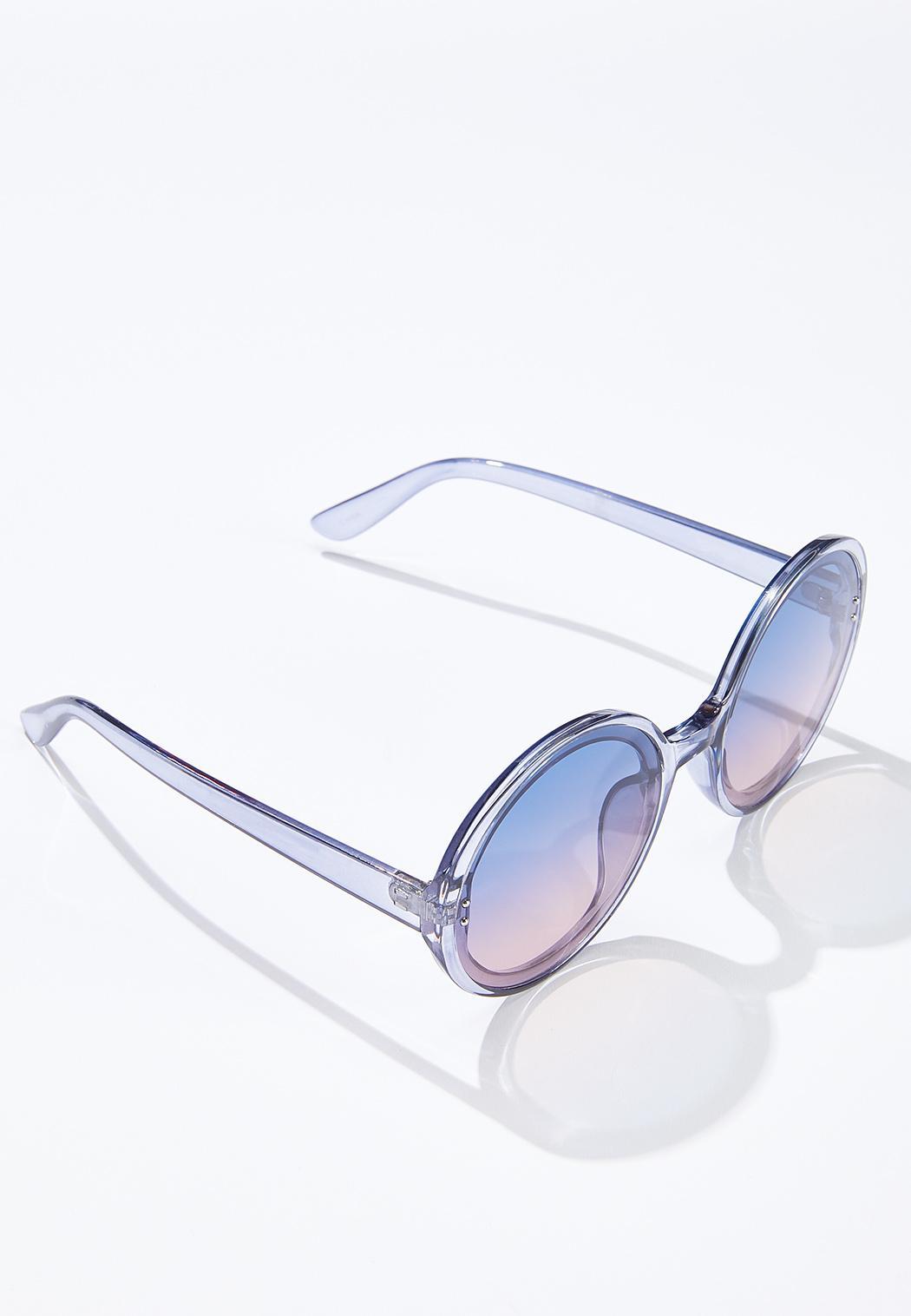 Gray Lucite Round Sunglasses (Item #44631898)