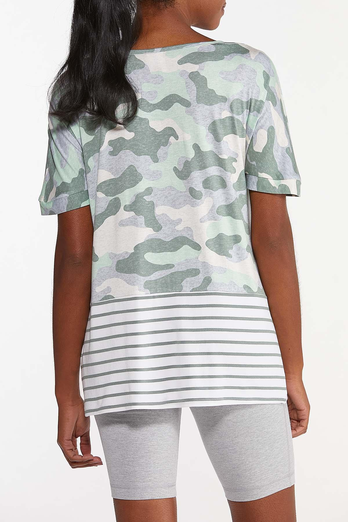 Plus Size Knotted Camo Stripe Top (Item #44633888)