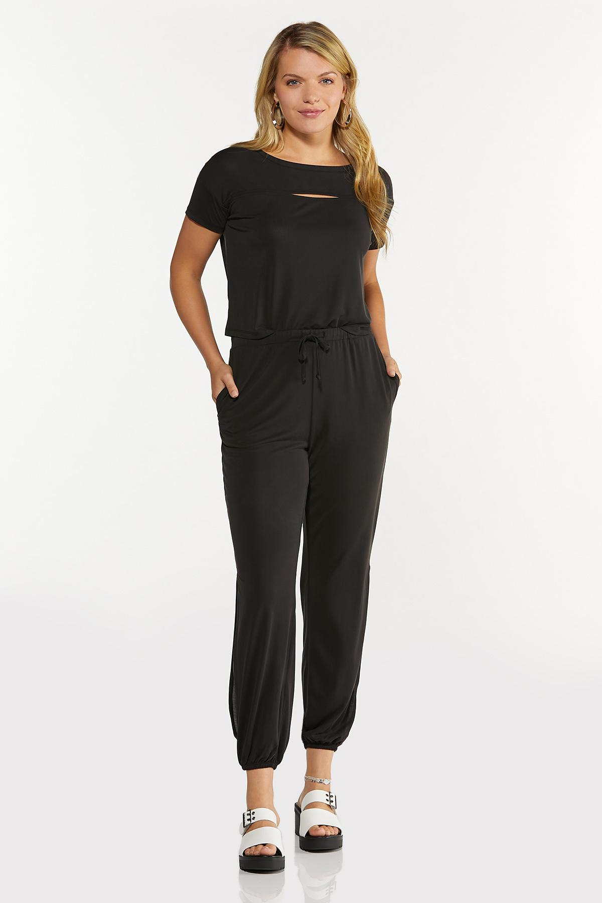 Plus Size Solid Cutout Tee (Item #44635510)