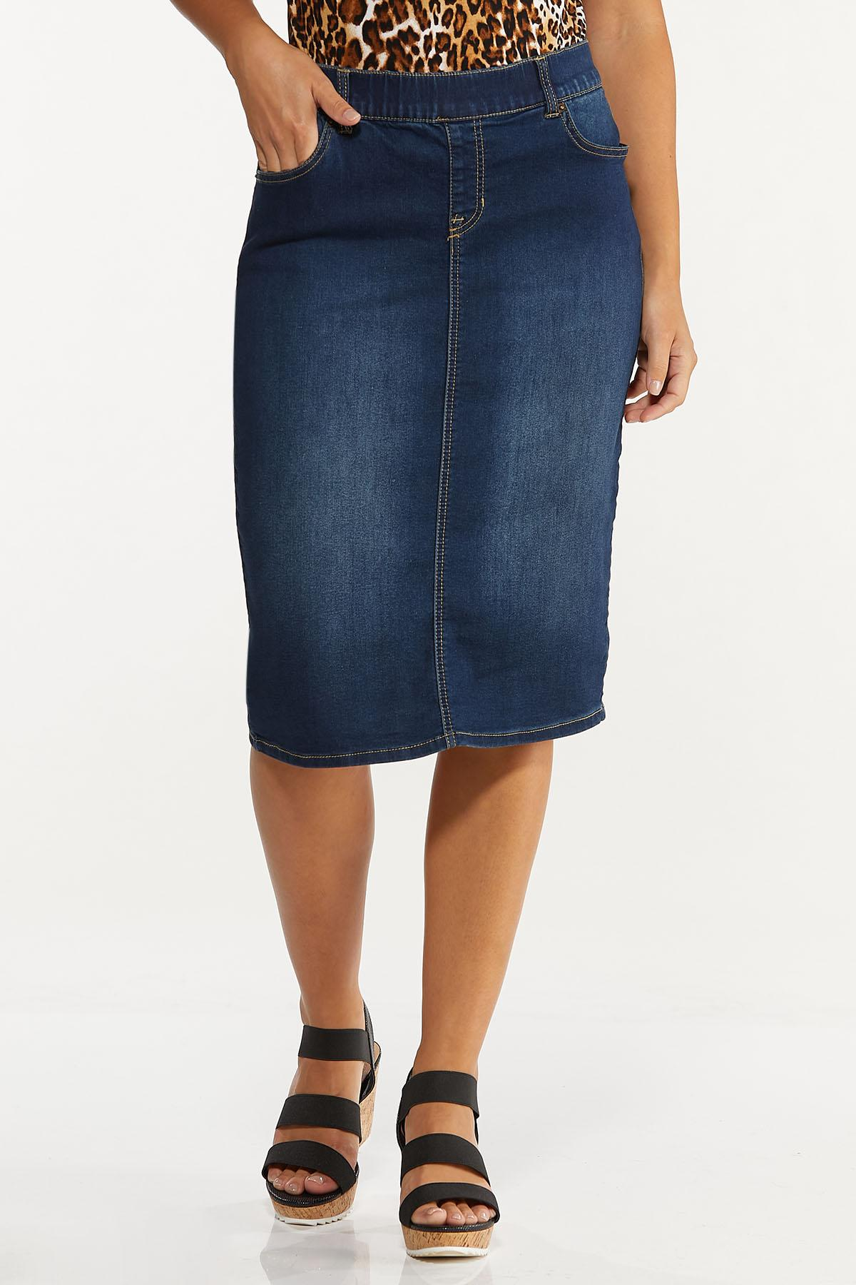 Dark Denim Pull-On Skirt (Item #44636464)