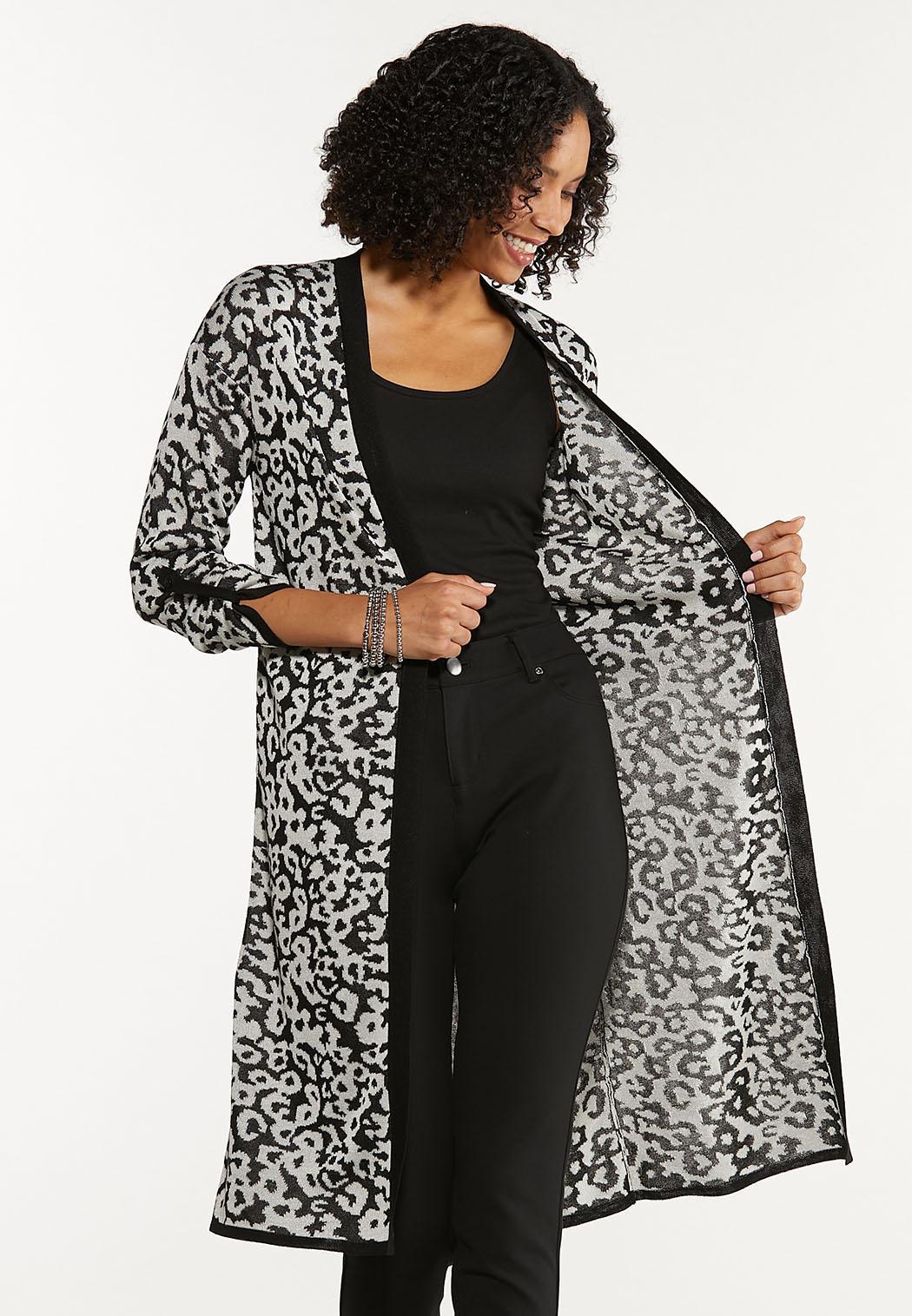 Plus Size Leopard Cardigan Sweater (Item #44636528)