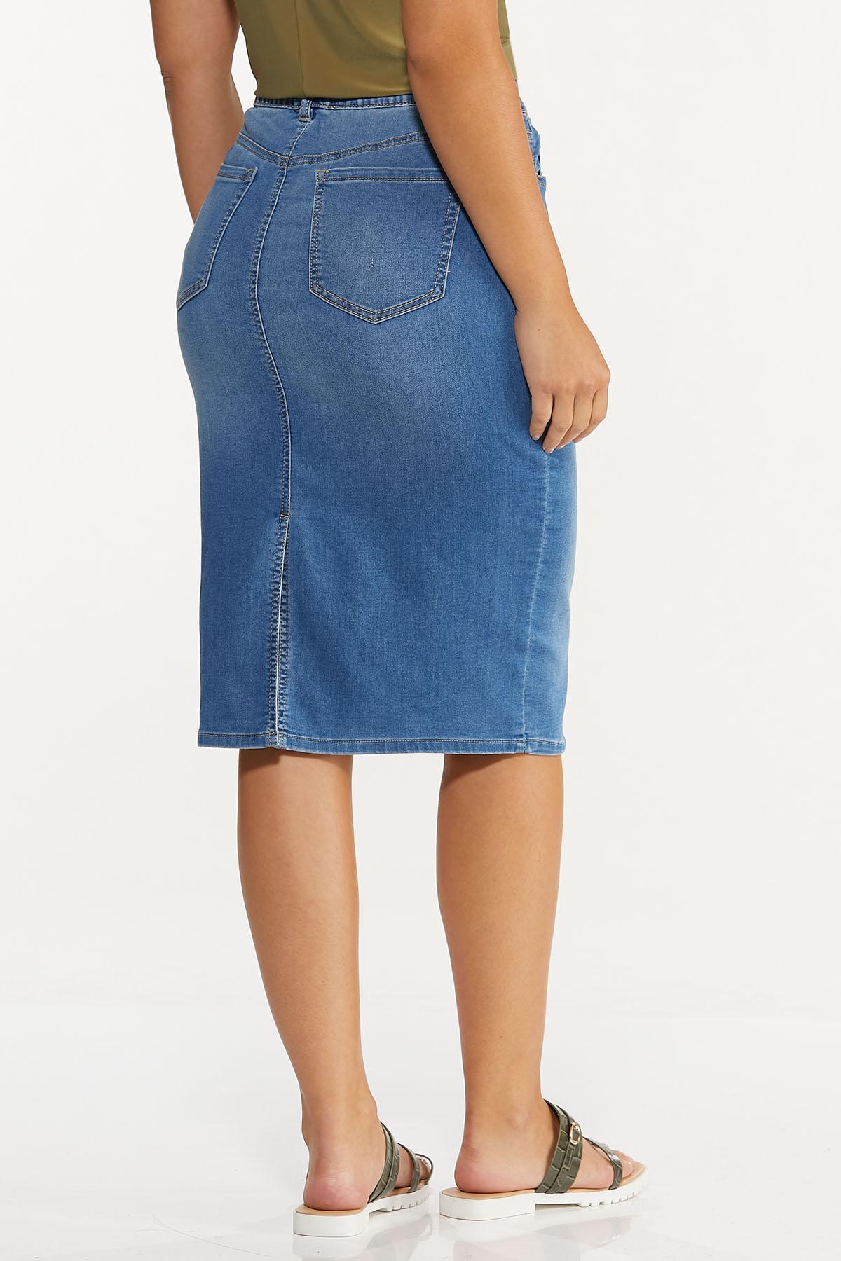 Plus Size Denim Pull-On Skirt (Item #44636574)