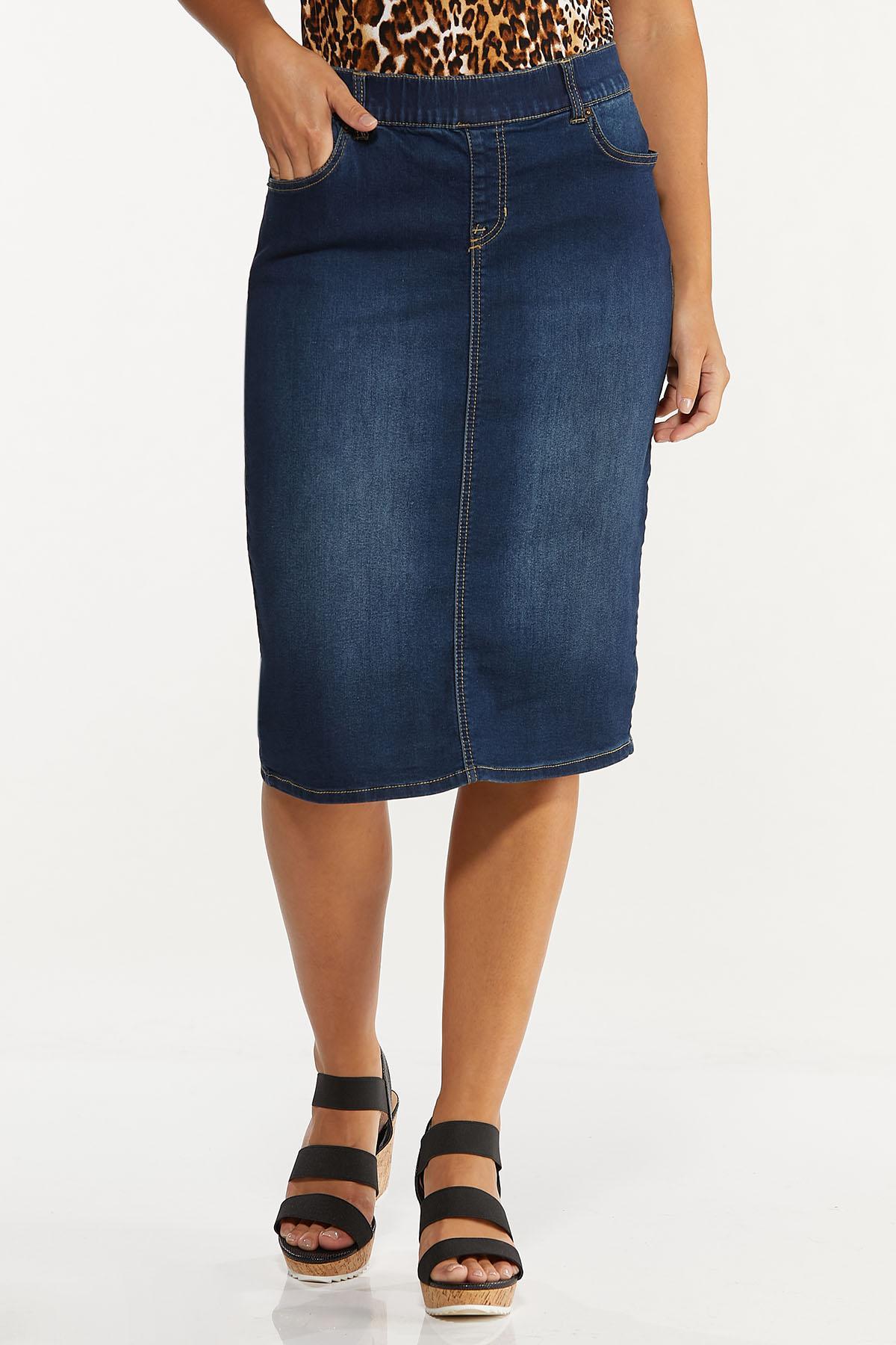 Plus Size Dark Denim Pull-On Skirt (Item #44636608)