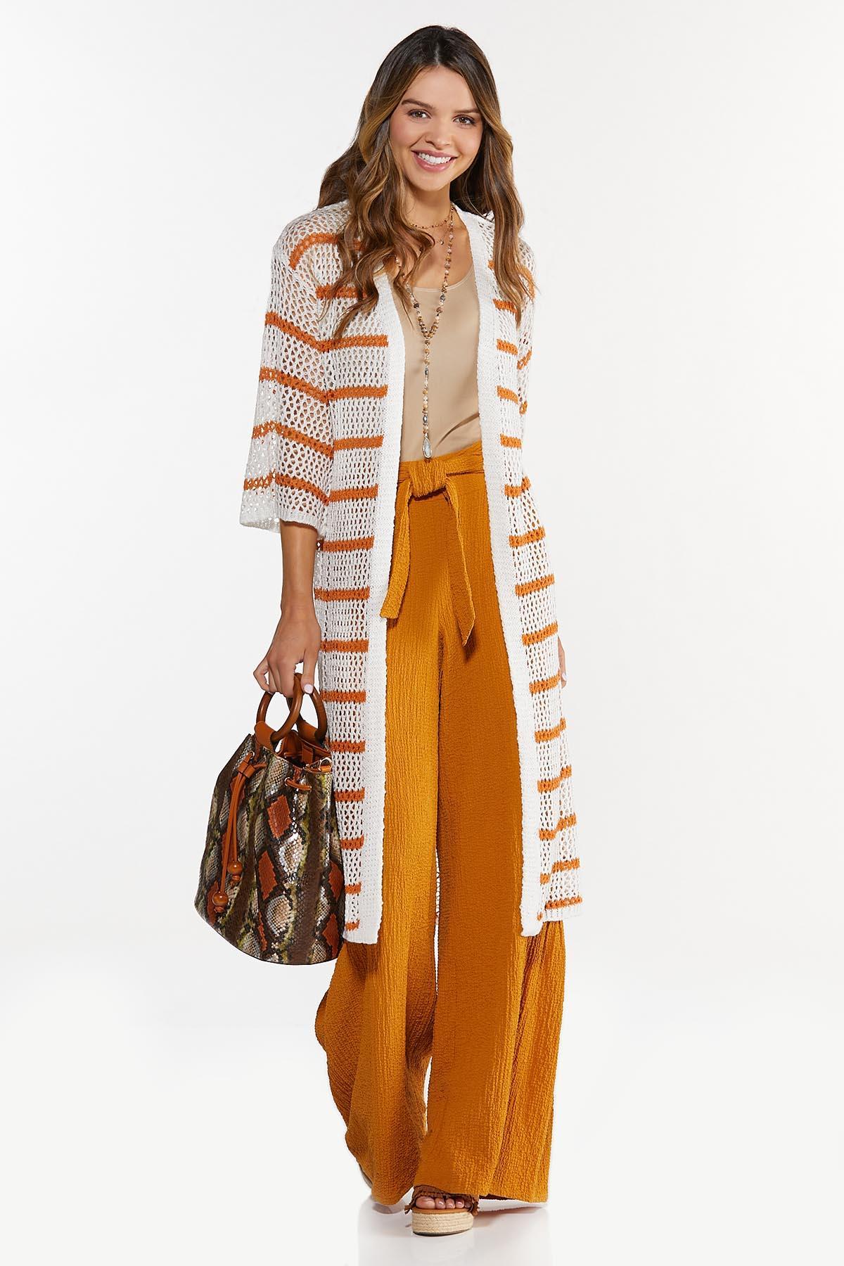 Plus Size Striped Open Stitch Duster Sweater (Item #44636804)