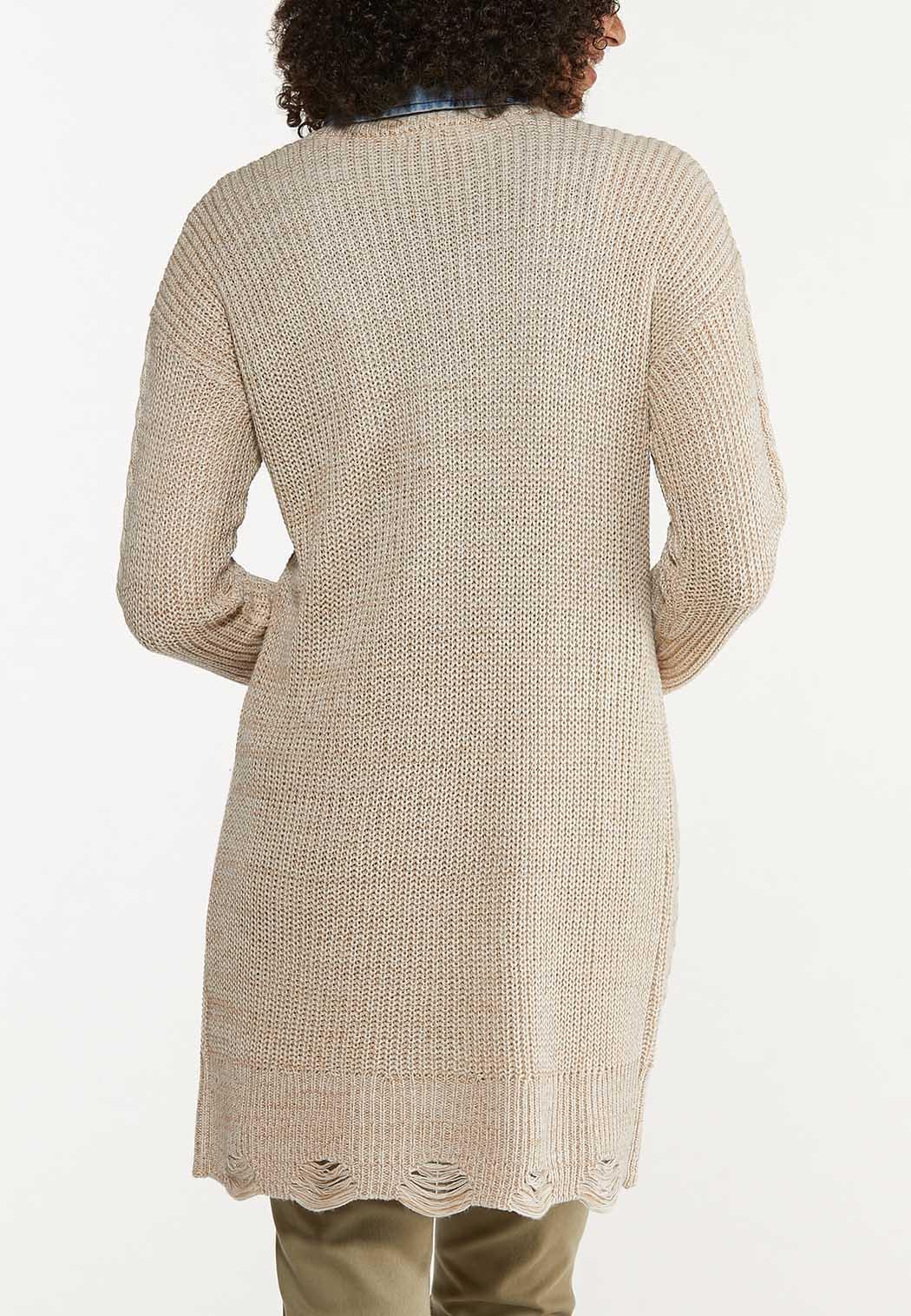 Plus Size Distressed Cardigan Sweater (Item #44636864)