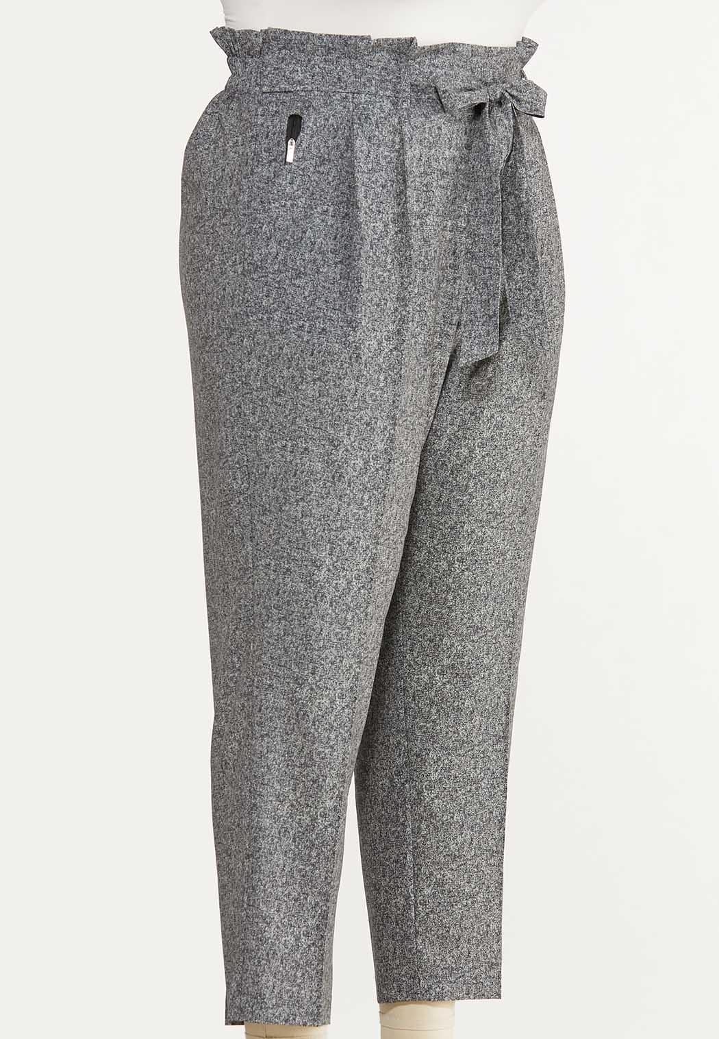 Plus Size Marled Tie Waist Pants (Item #44637107)