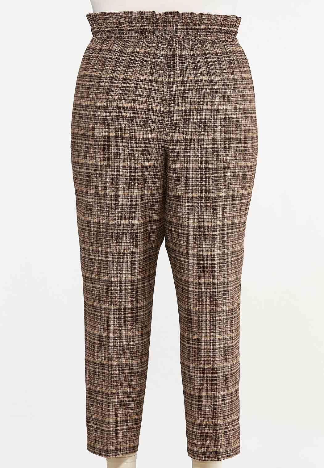 Plus Size Brown Marled Tie Waist Pants (Item #44637240)