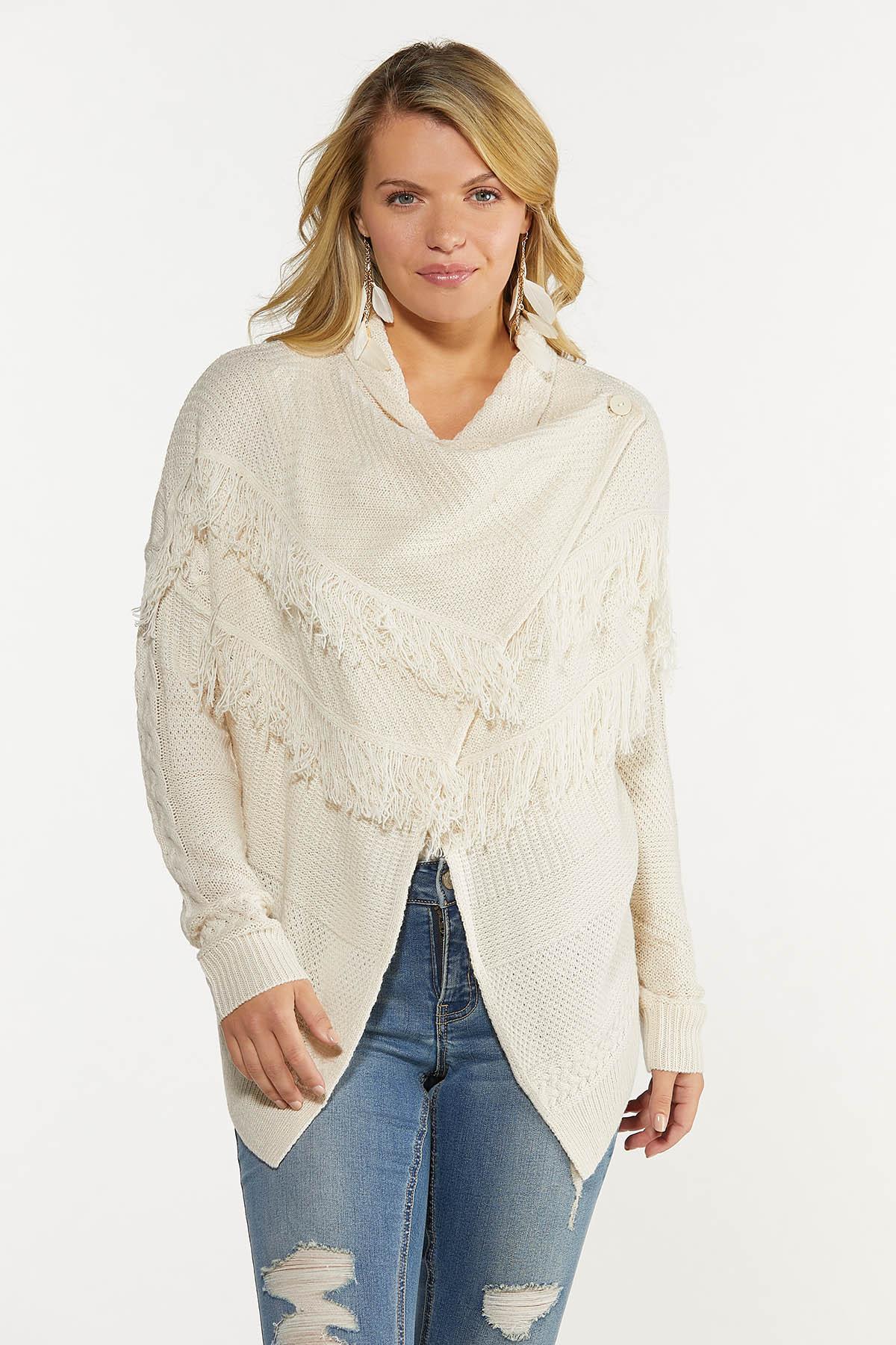 Cable Fringe Cardigan Sweater (Item #44637261)