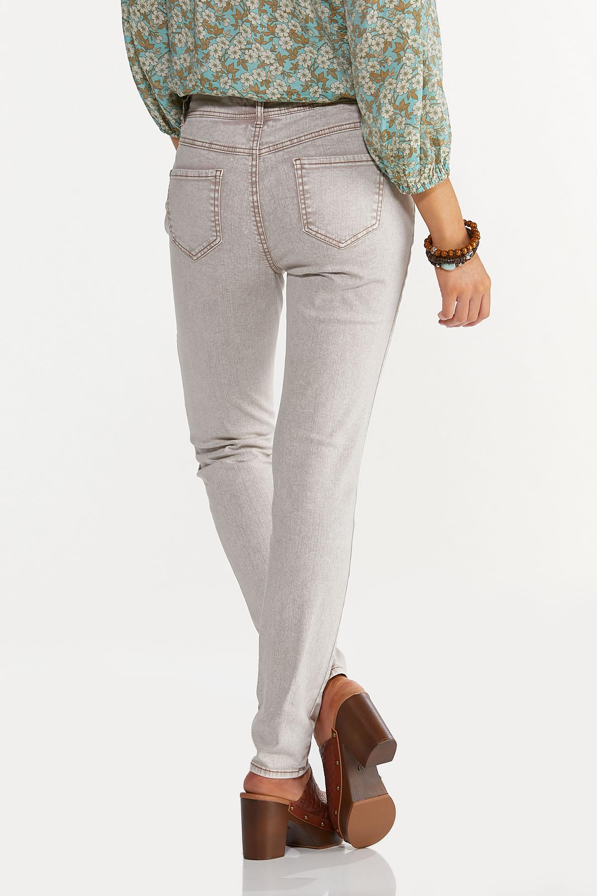 Beige High-Rise Skinny Jeans (Item #44638825)
