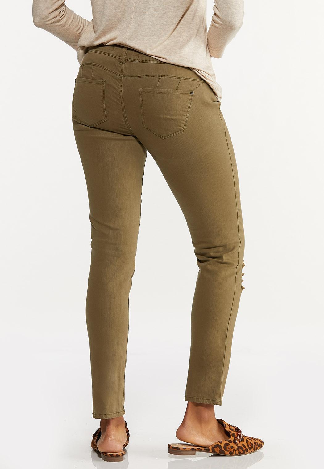 Distressed Olive Skinny Jeans (Item #44639764)