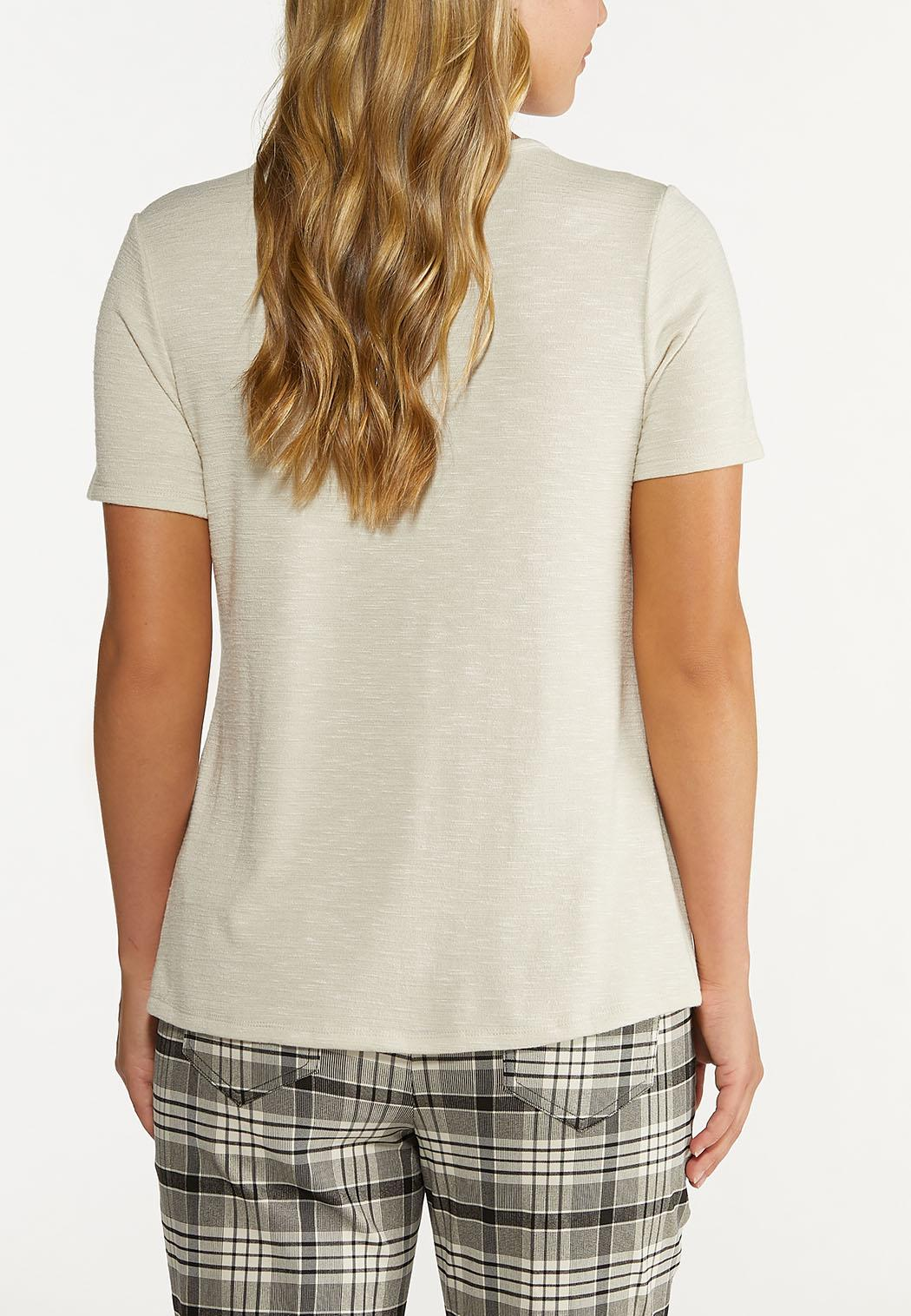 Plus Size Oatmeal Button Henley (Item #44639952)