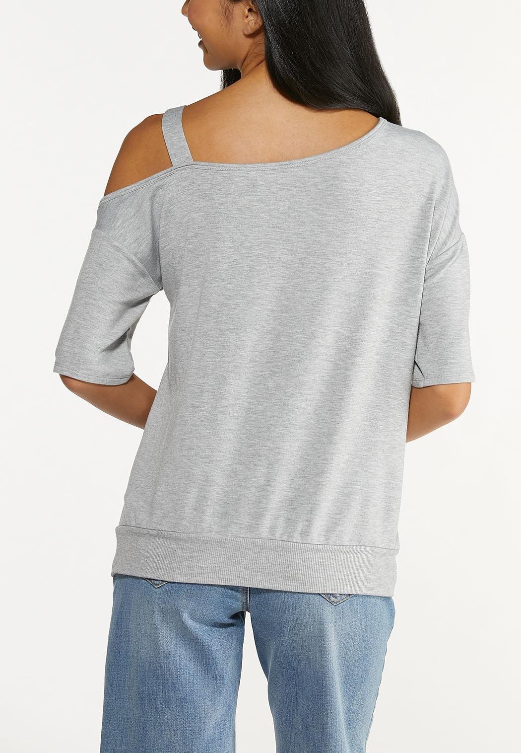 Plus Size Distressed One Shoulder Top (Item #44639983)