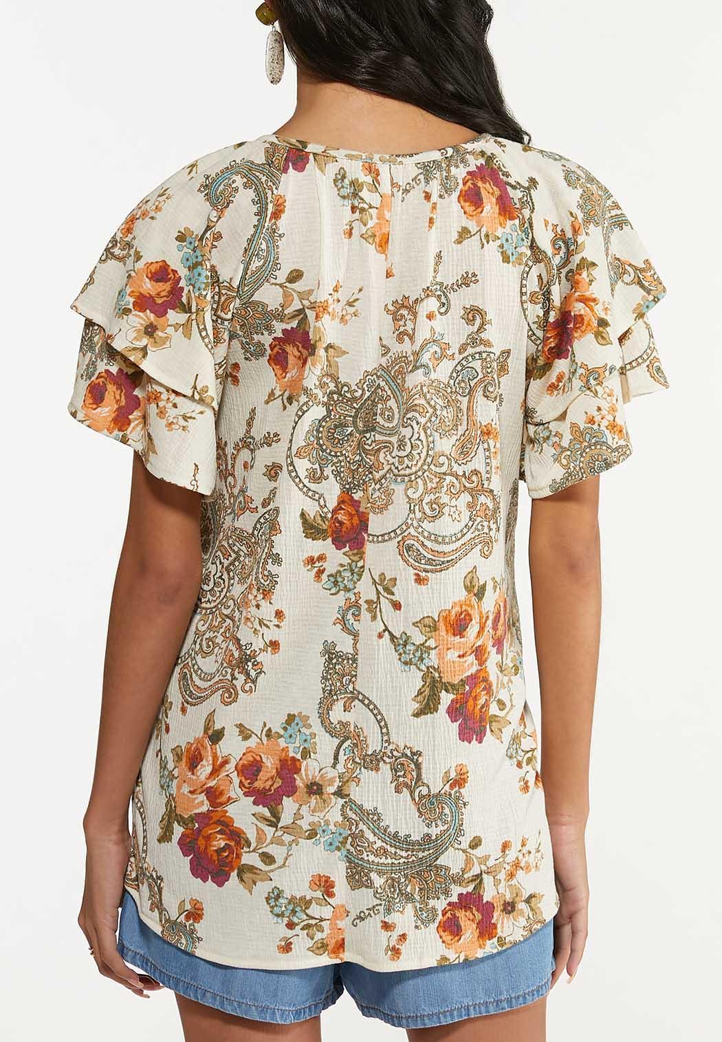 Plus Size Floral Paisley Gauze Top (Item #44640160)