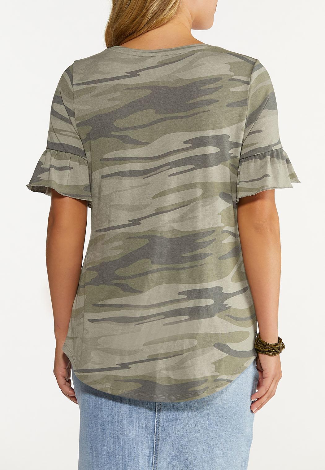 Plus Size Camo Ruffled Sleeve Tee (Item #44640265)