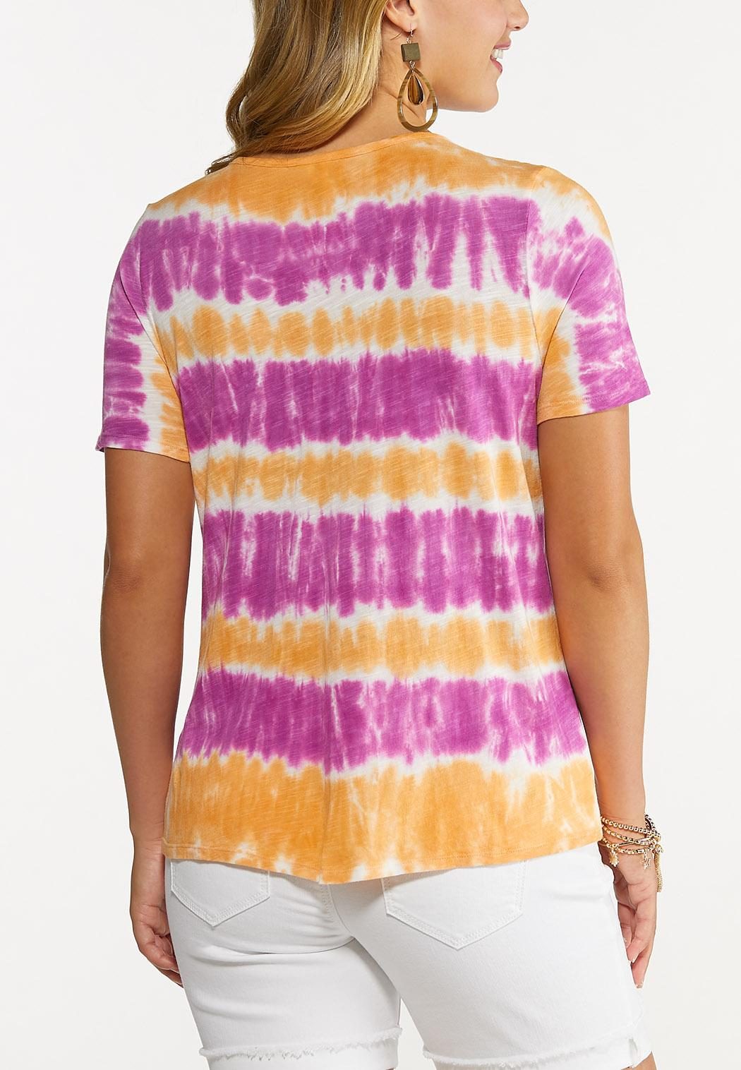 Plus Size Tie Dye Cinch Hem Top (Item #44640293)