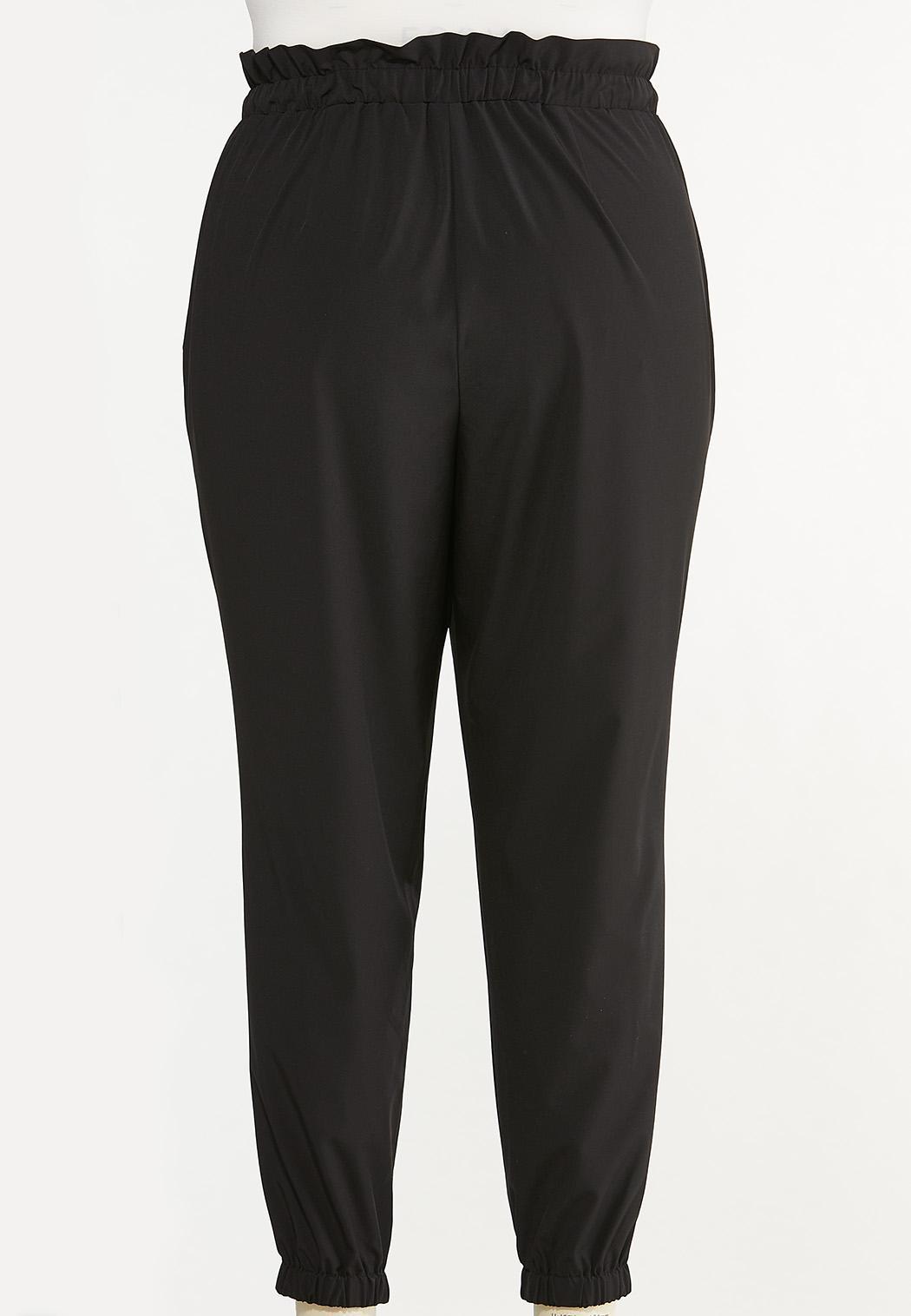Plus Size Tie Paperbag Waist Joggers (Item #44640322)