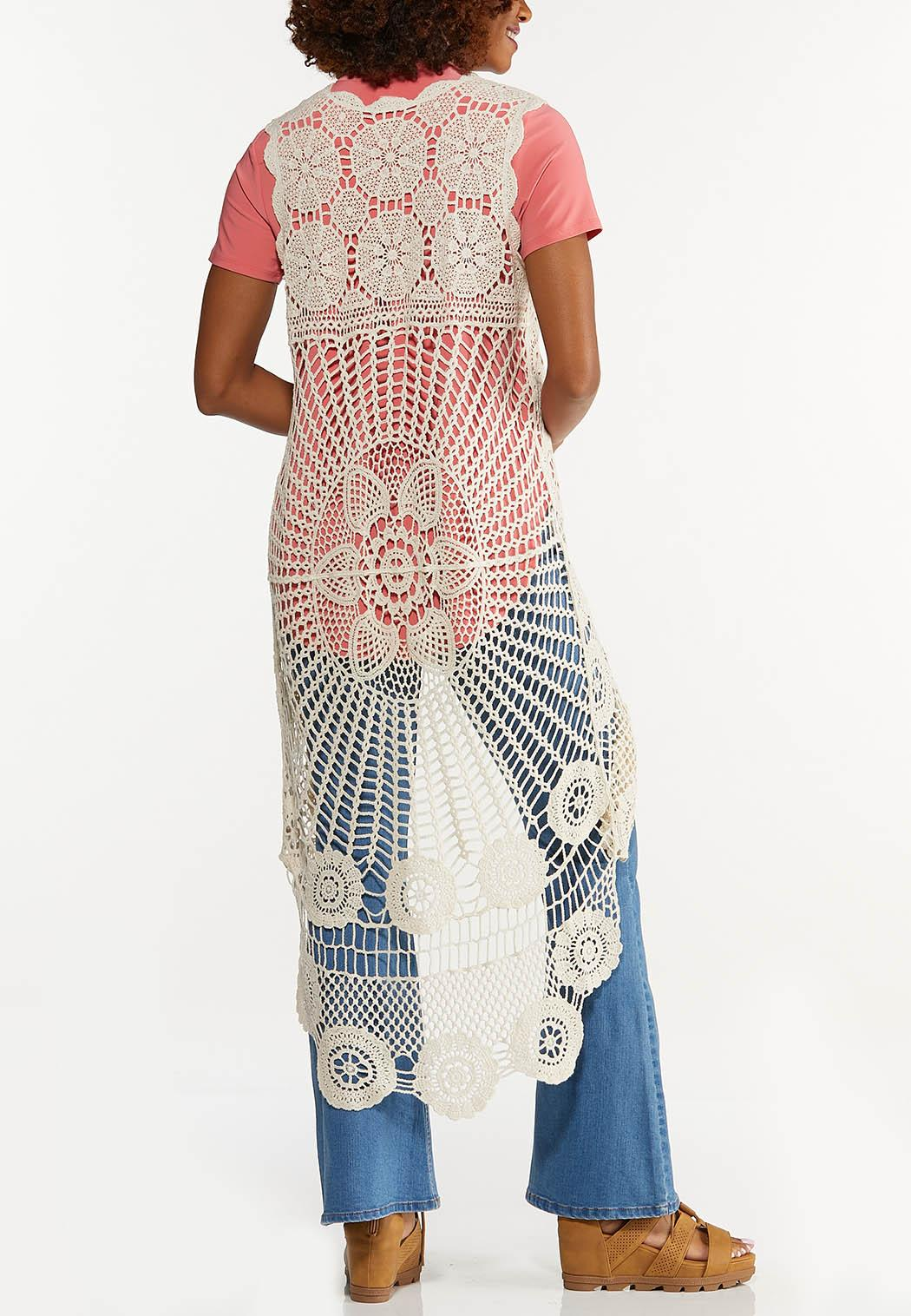 Plus Size Natural Crochet Vest (Item #44640341)