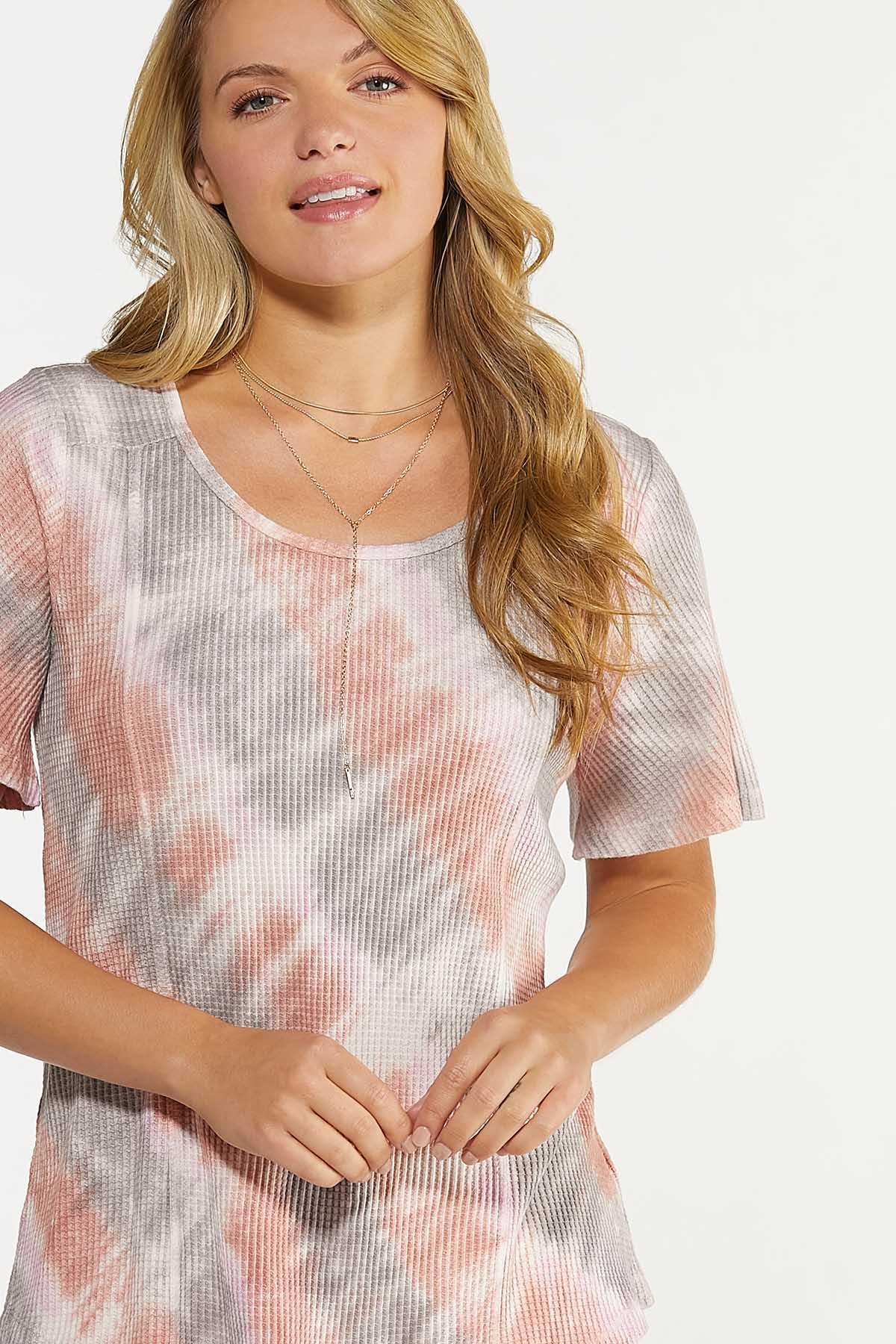 Plus Size Tie Dye Waffle Top (Item #44640391)