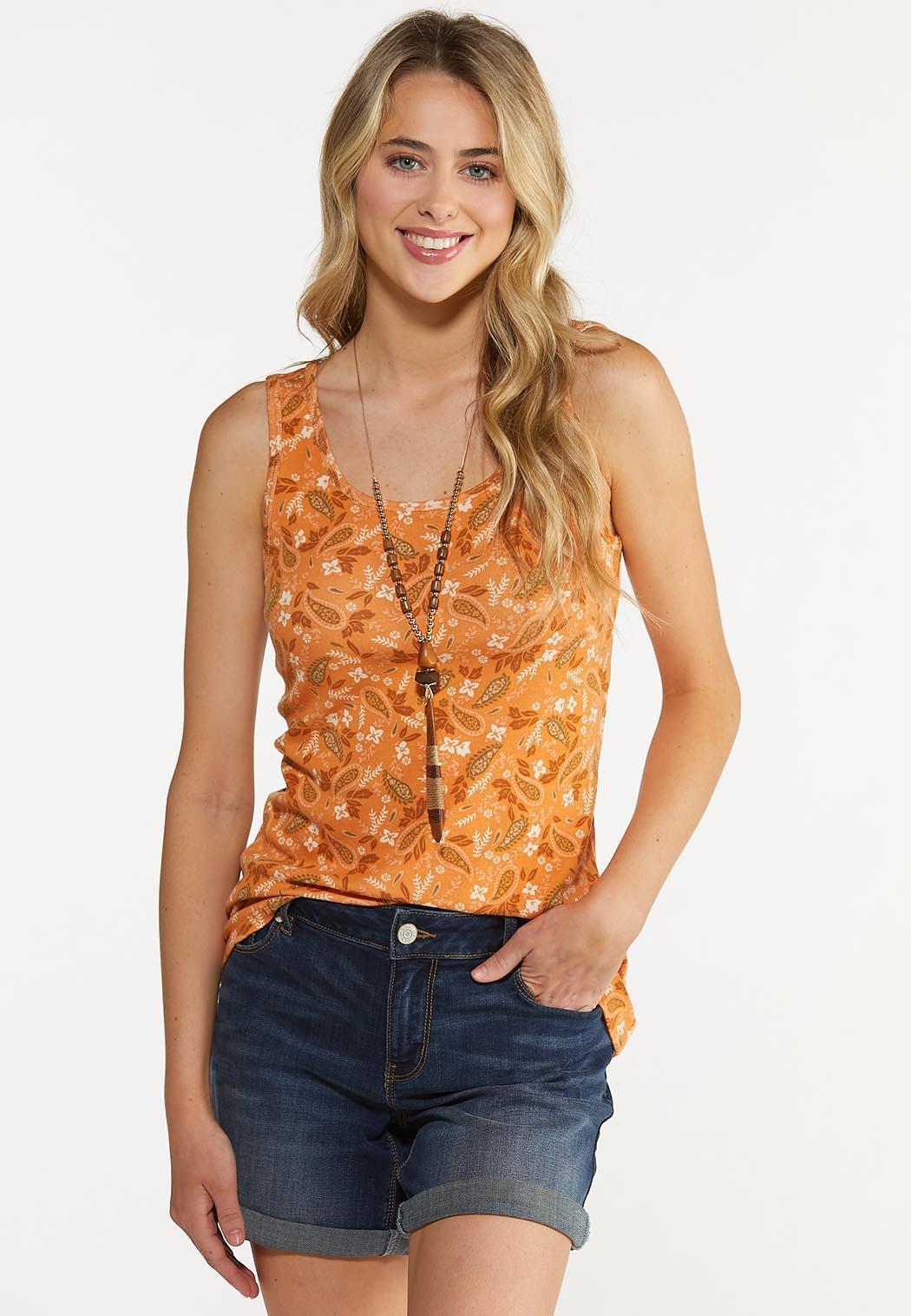 Orange Floral Paisley Tank (Item #44640432)