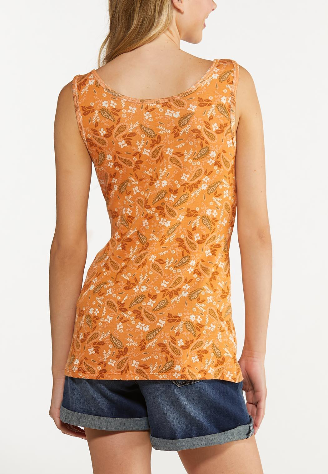 Plus Size Orange Floral Paisley Tank (Item #44640442)