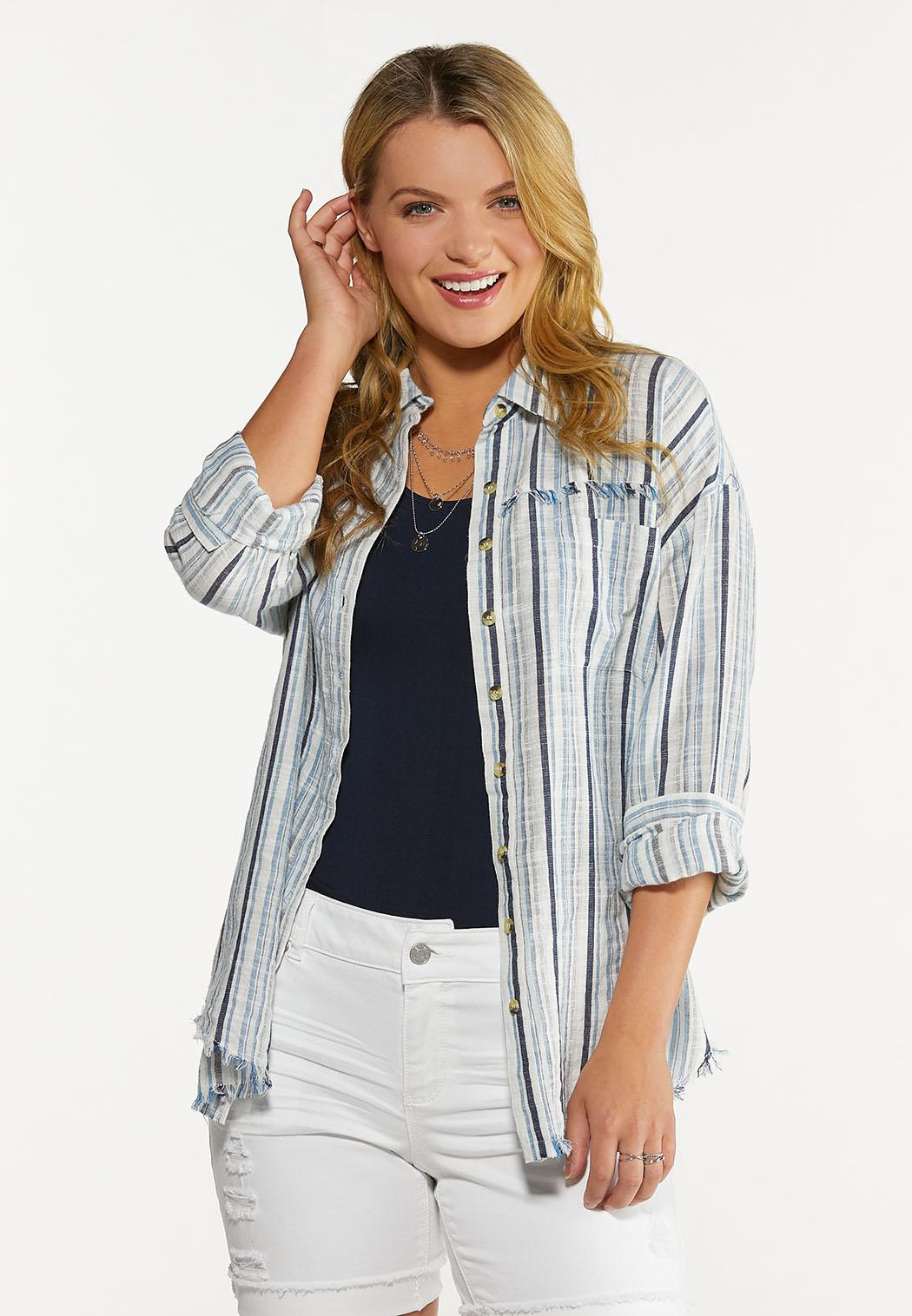 Plus Size Frayed Stripe Shirt (Item #44640831)