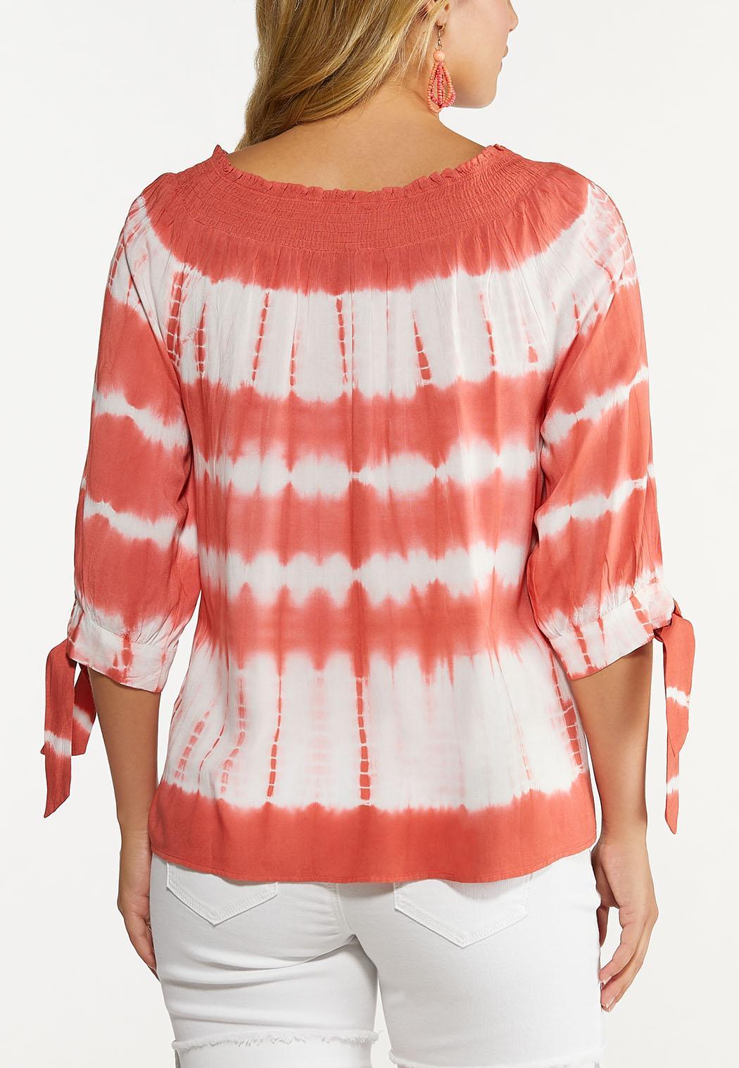 Plus Size Coral Tie Dye Poet Top (Item #44640930)