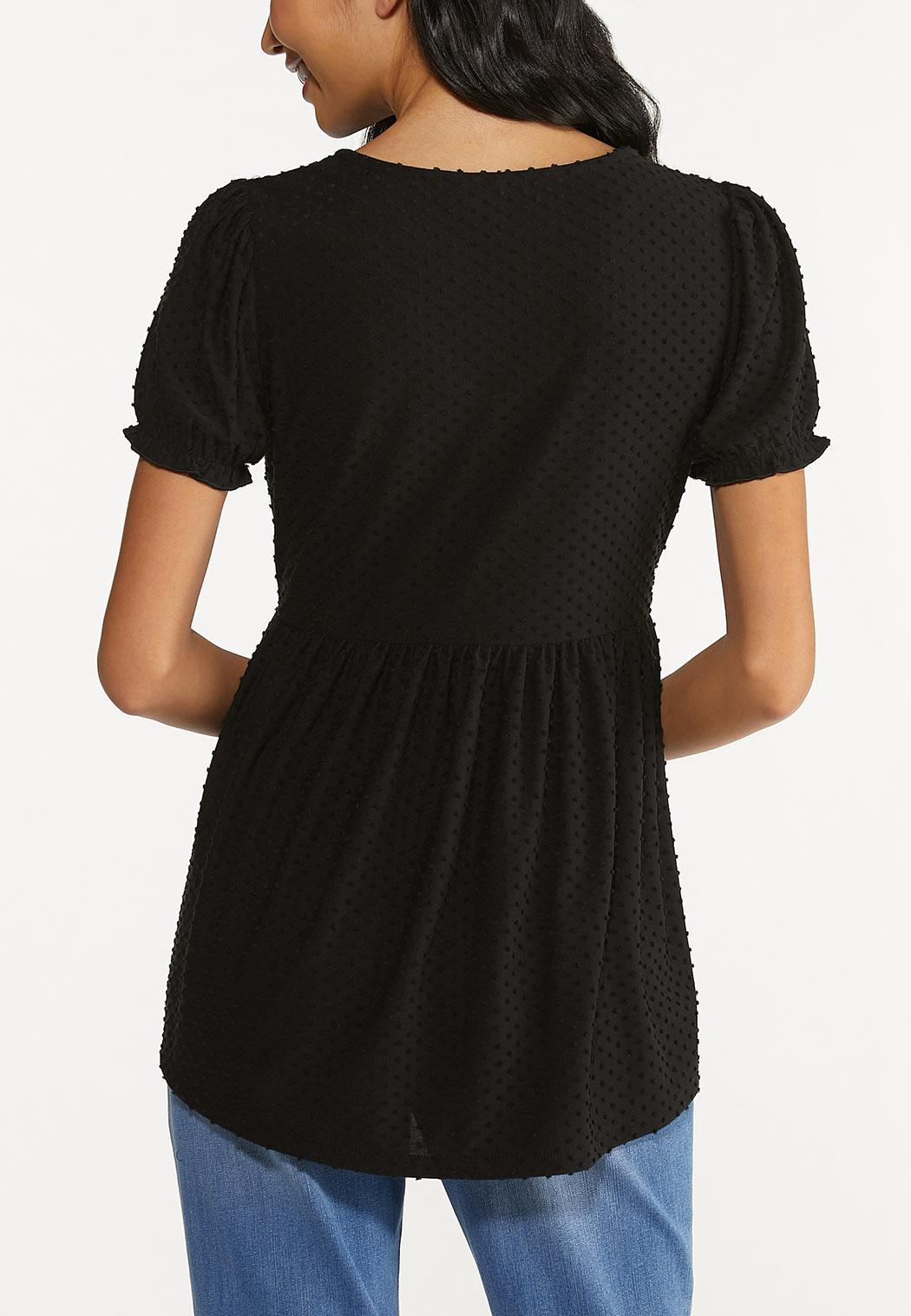 Plus Size Textured Dot Babydoll Top (Item #44640965)