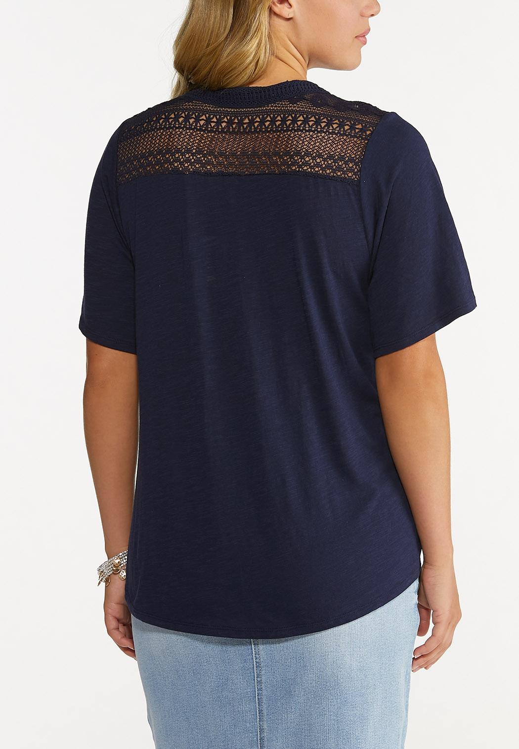 Crochet Trim Tie Front Top (Item #44640973)