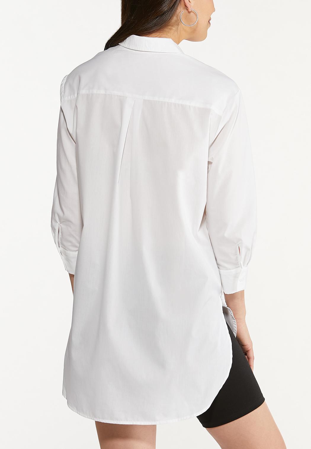 Plus Size Poplin Side Button Tunic (Item #44641066)