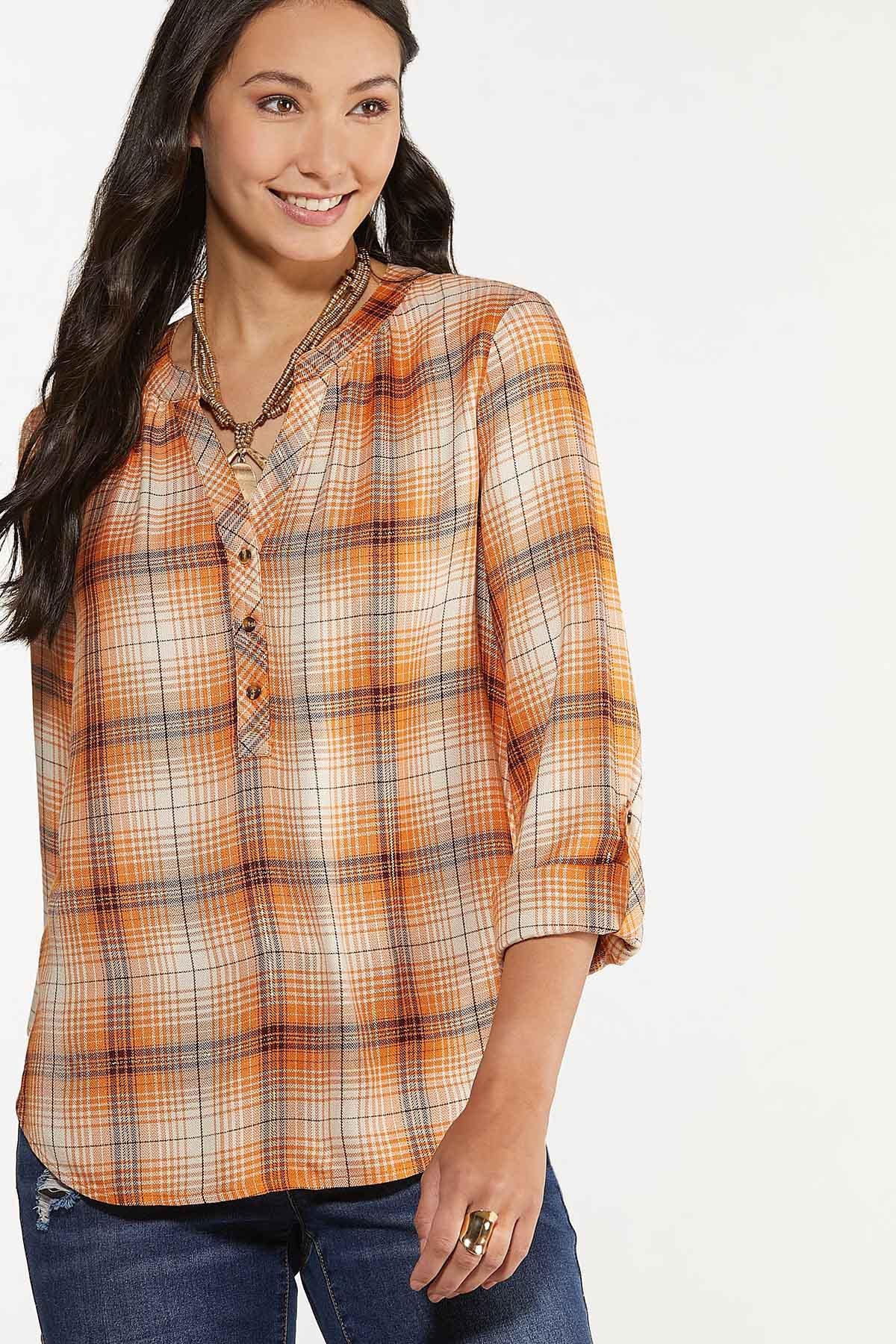 Pumpkin Plaid Pullover Top (Item #44641118)