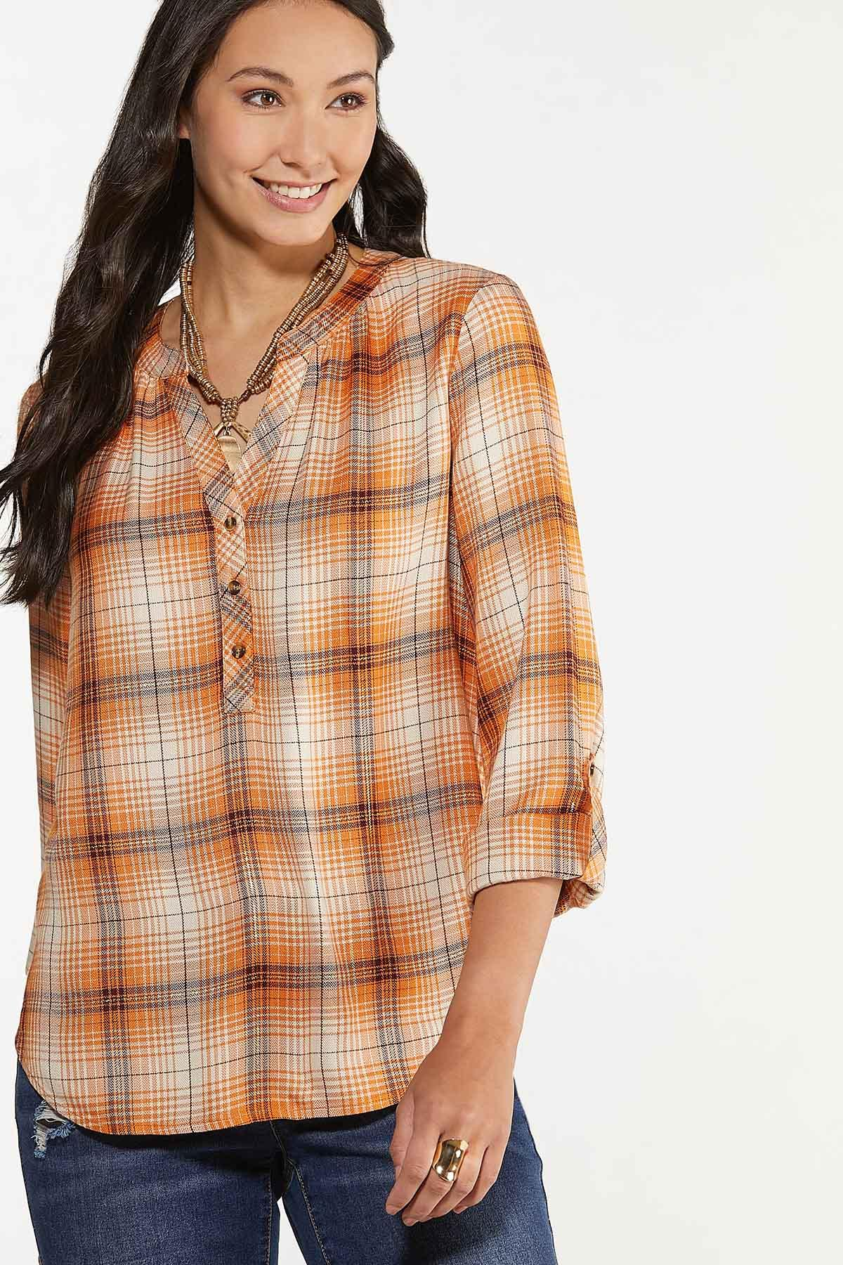 Plus Size Pumpkin Plaid Pullover Top (Item #44641130)