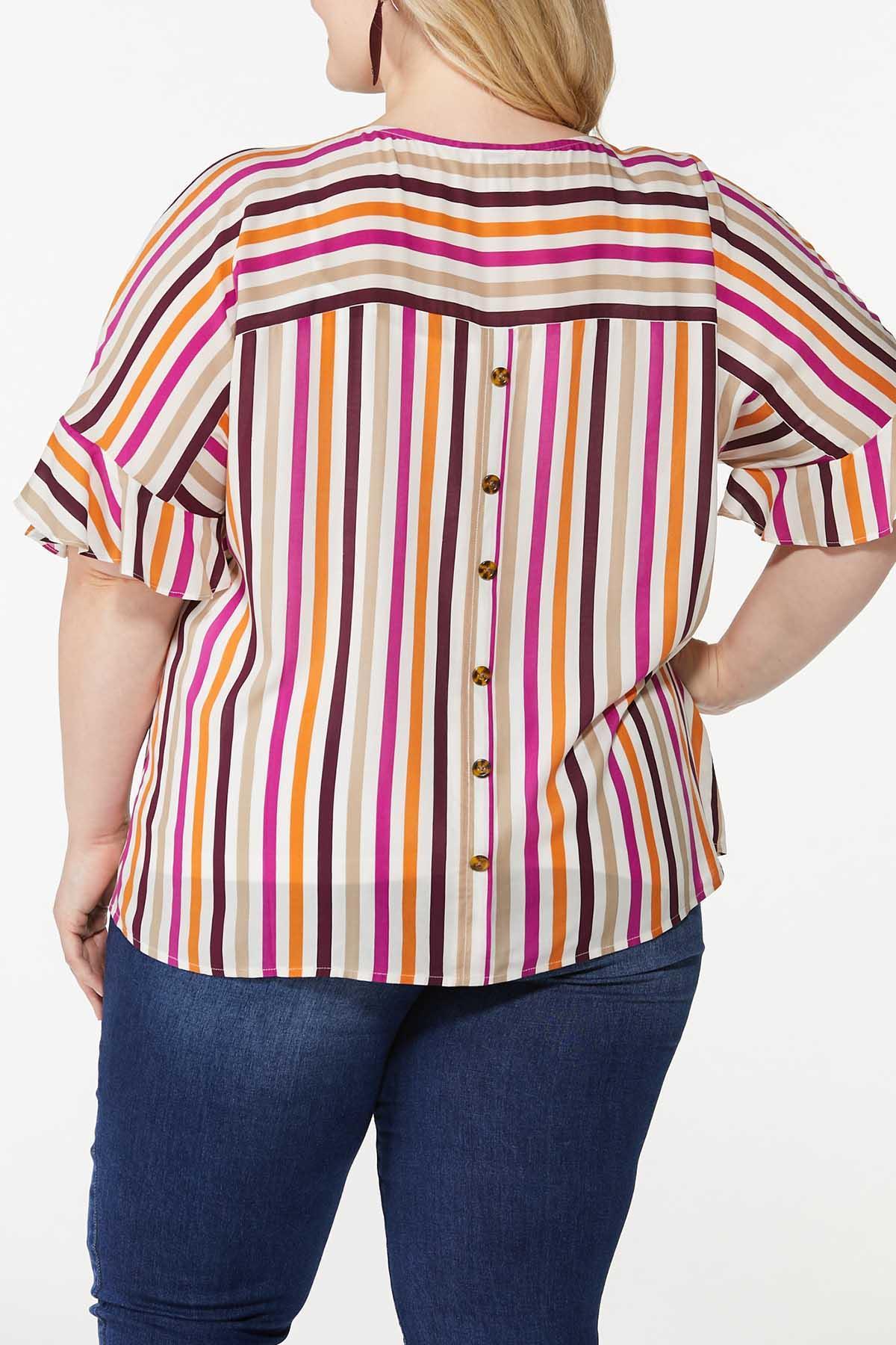 Plus Size Berry Stripe Top (Item #44641284)