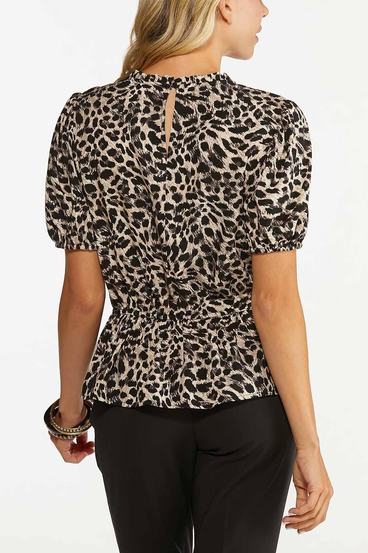 Plus Size Leopard Peplum Top (Item #44641331)