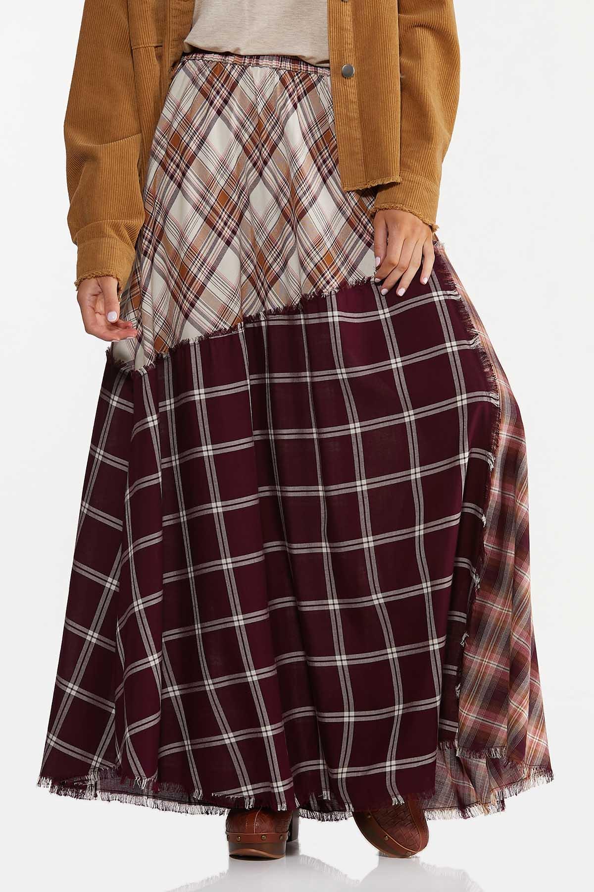 Frayed Patchwork Maxi Skirt (Item #44642046)