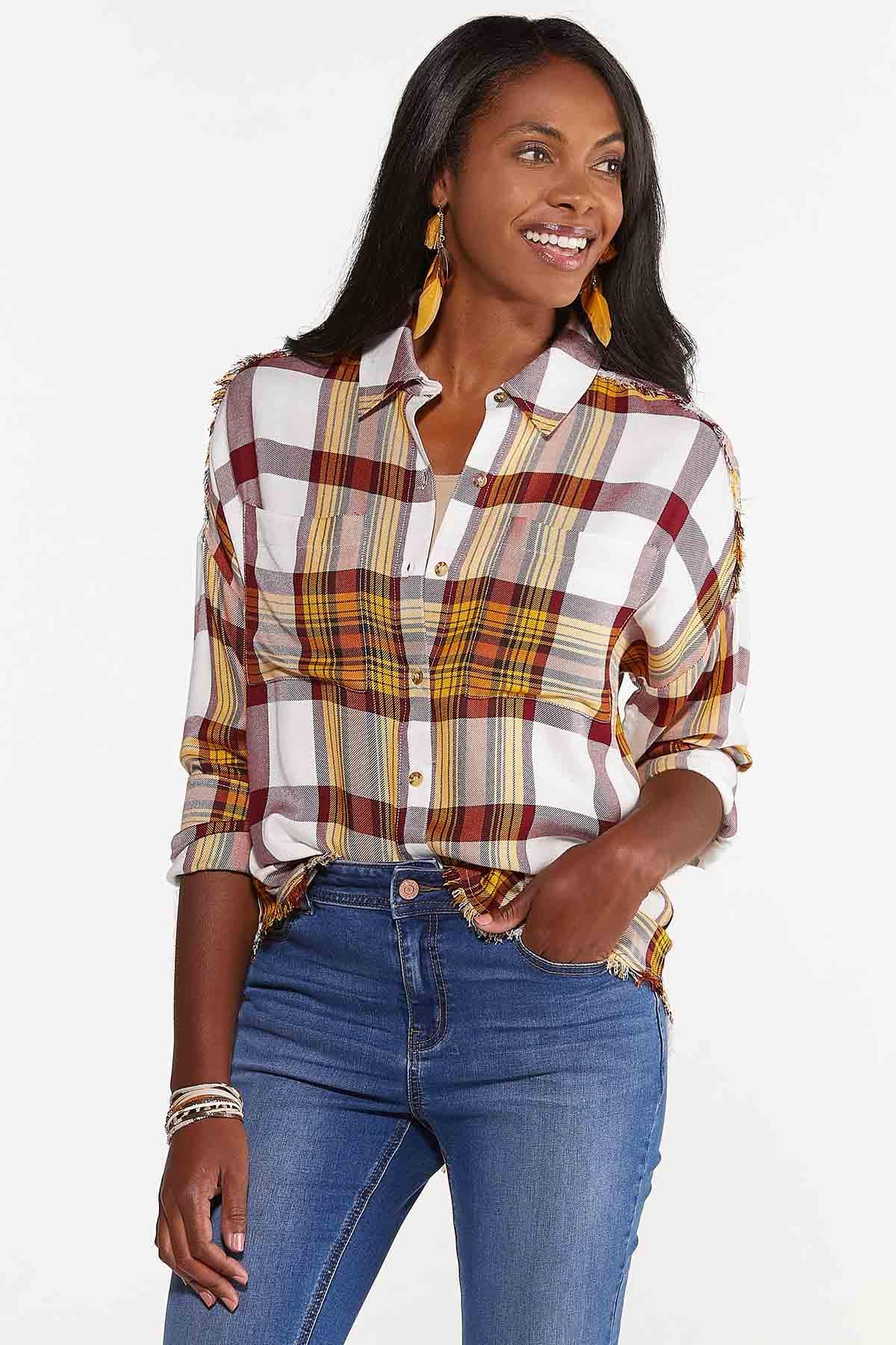 Oversized Frayed Plaid Shirt (Item #44642286)