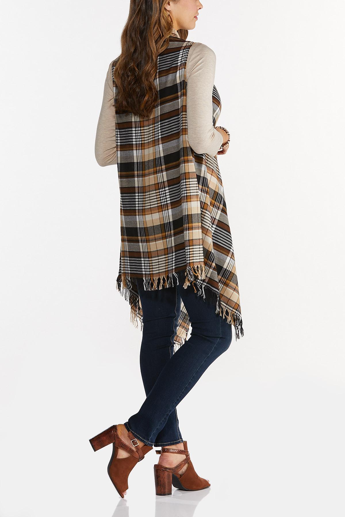 Autumn Plaid Fringe Vest (Item #44642405)