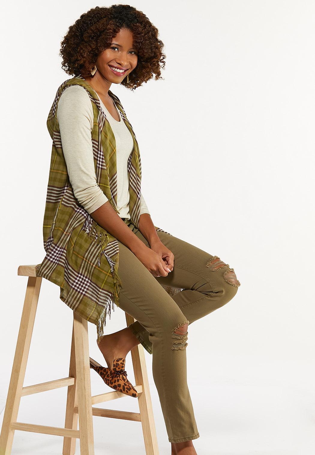 Plaid Hooded Vest (Item #44642425)