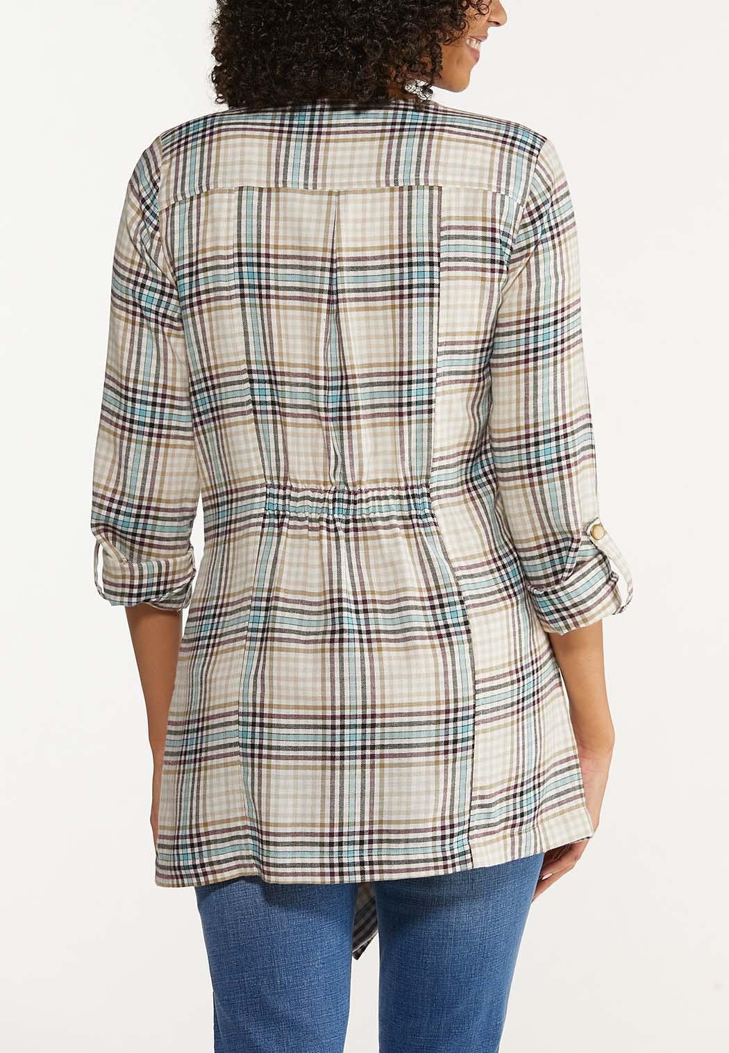 Plus Size Plaid Ruched Back Jacket (Item #44642801)