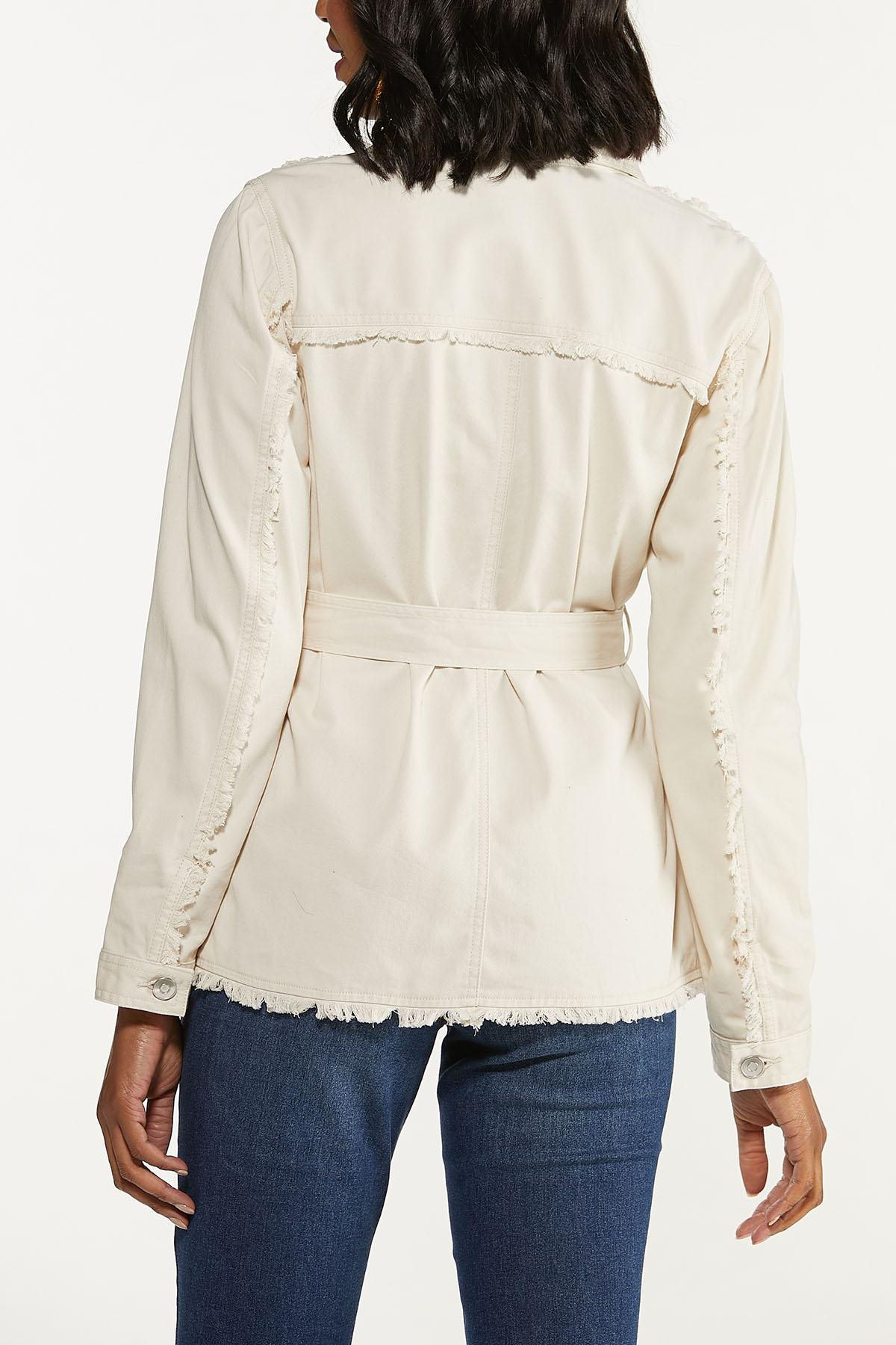 Plus Size Distressed Belted Jacket (Item #44642989)