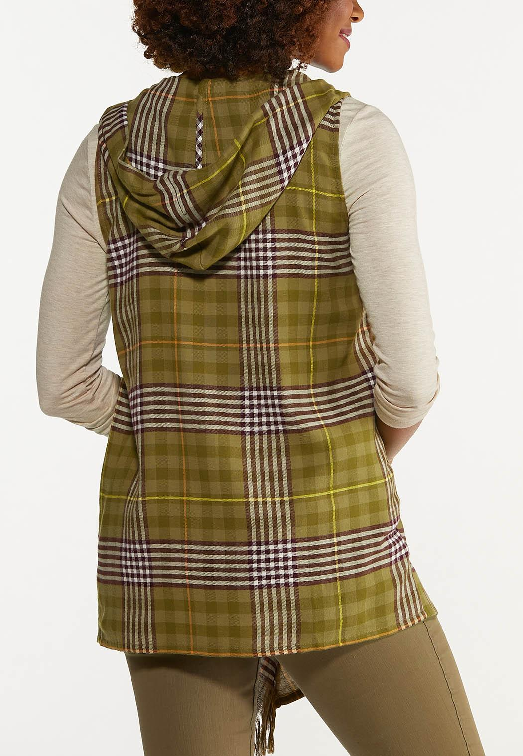 Plus Size Plaid Hooded Vest (Item #44643046)