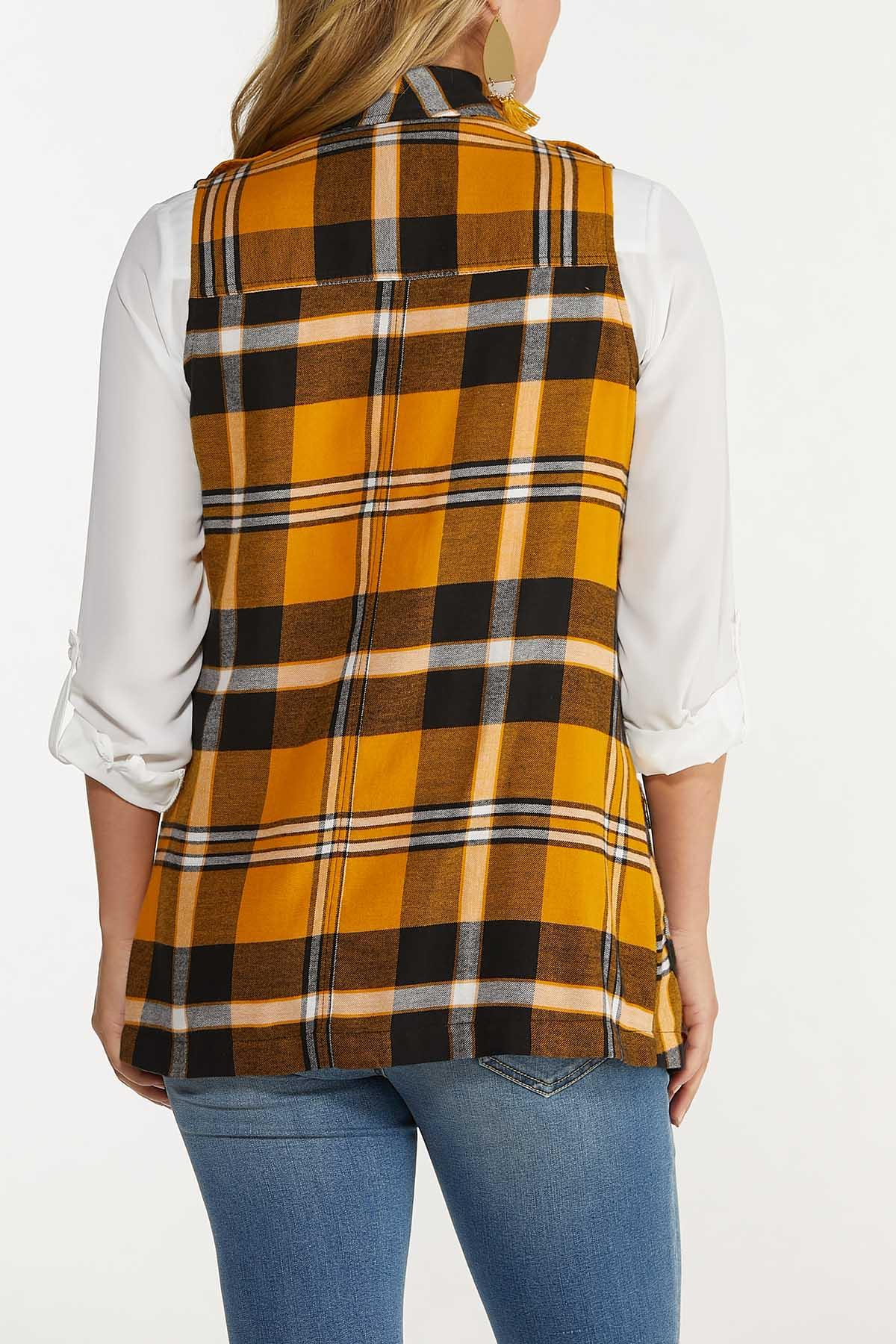 Plus Size Gold Plaid Vest (Item #44643102)