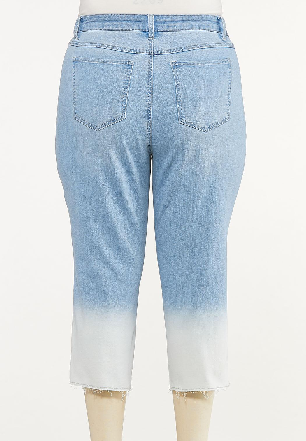 Plus Size Cropped Ombre Jeans (Item #44643317)