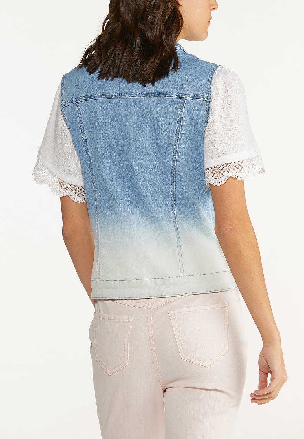 Plus Size Ombre Denim Vest (Item #44643453)