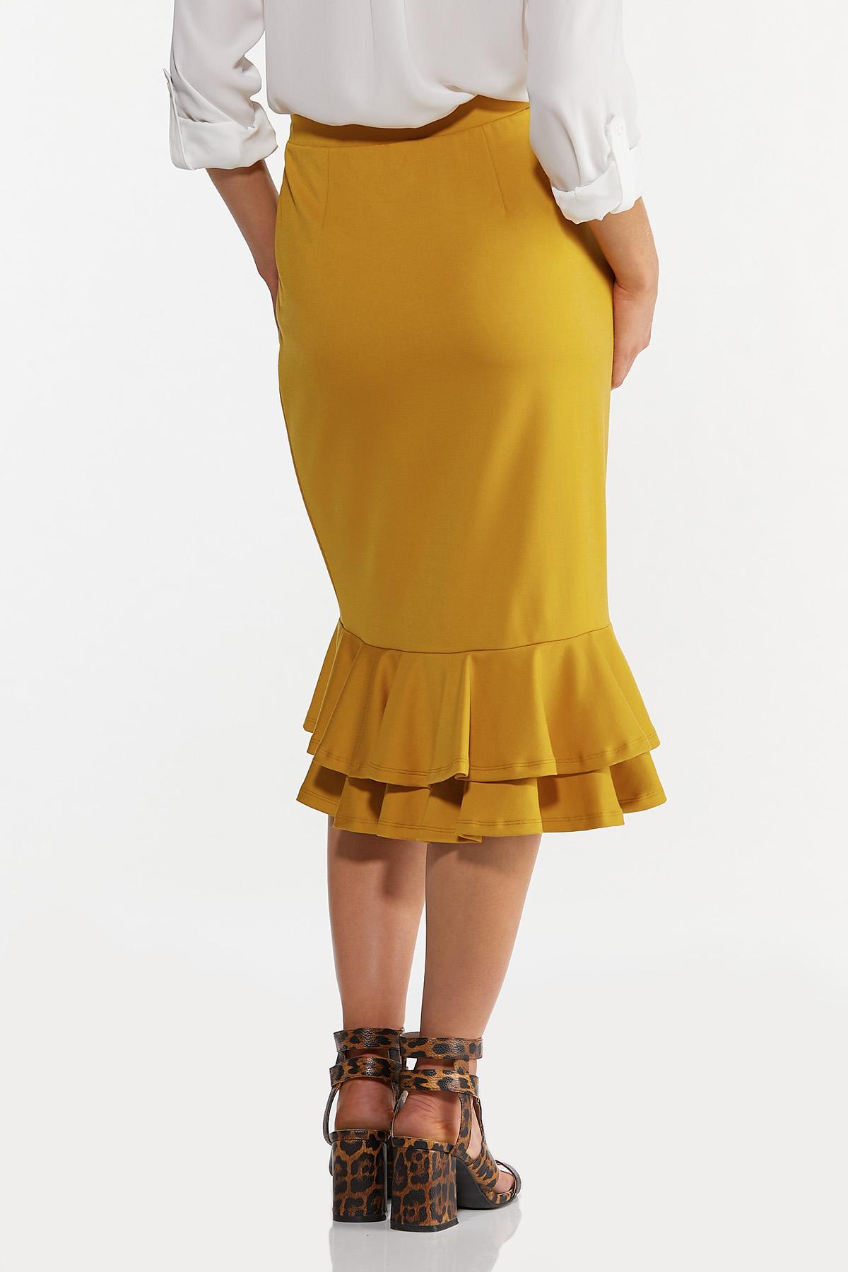 Plus Size Double Ruffle Ponte Skirt (Item #44643517)