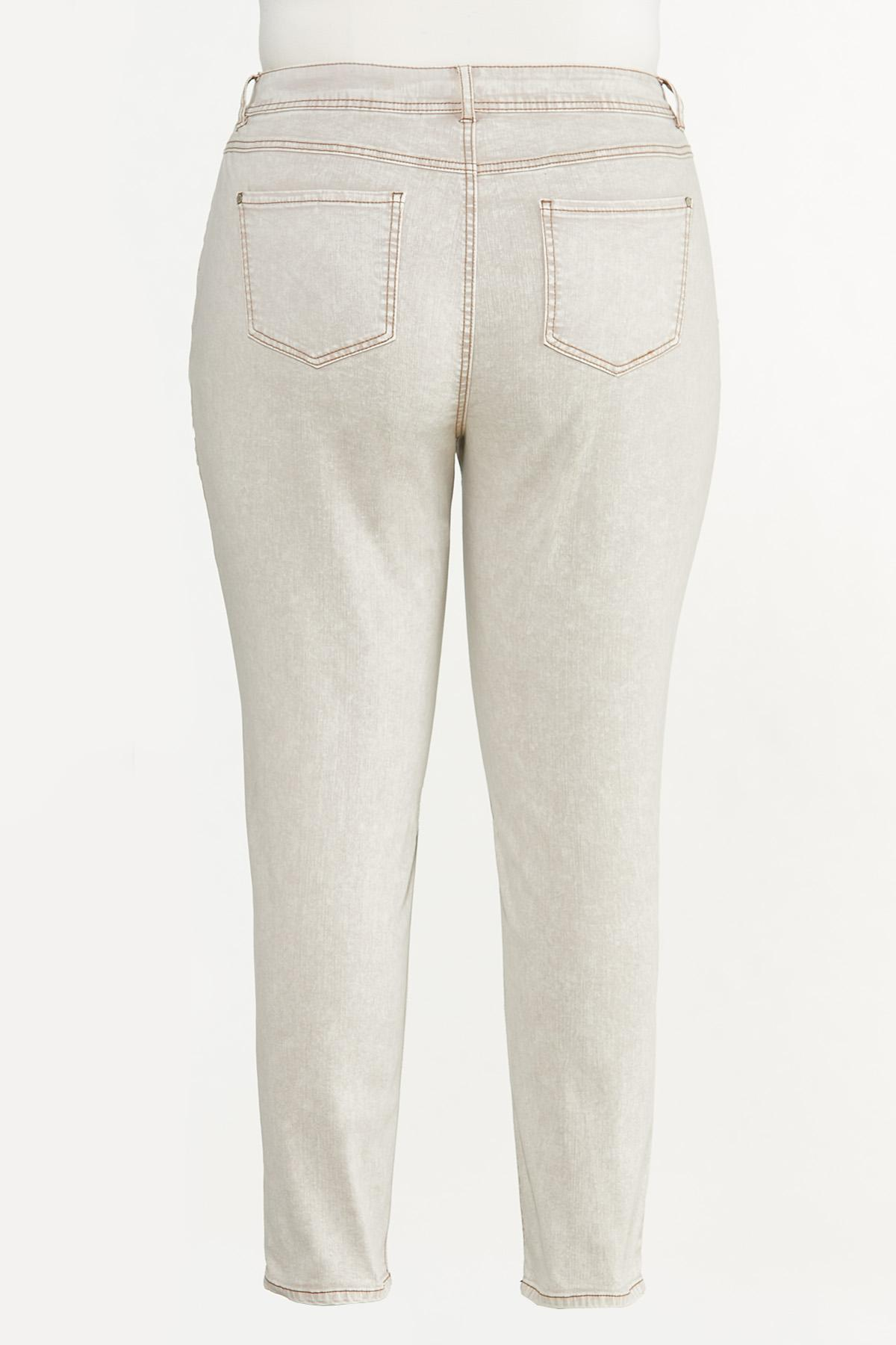 Plus Size Beige High-Rise Skinny Jeans (Item #44643775)