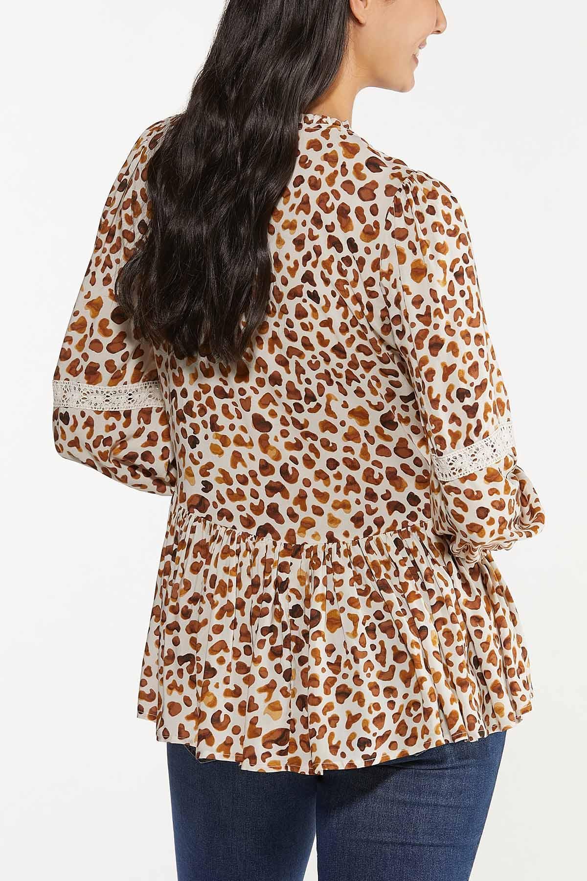 Plus Size Leopard Peplum Top (Item #44643776)
