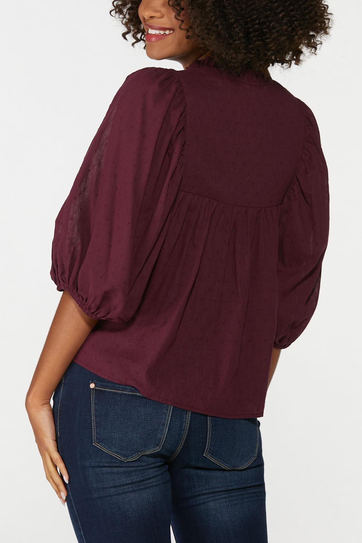 Plus Size Wine Balloon Sleeve Top (Item #44643903)