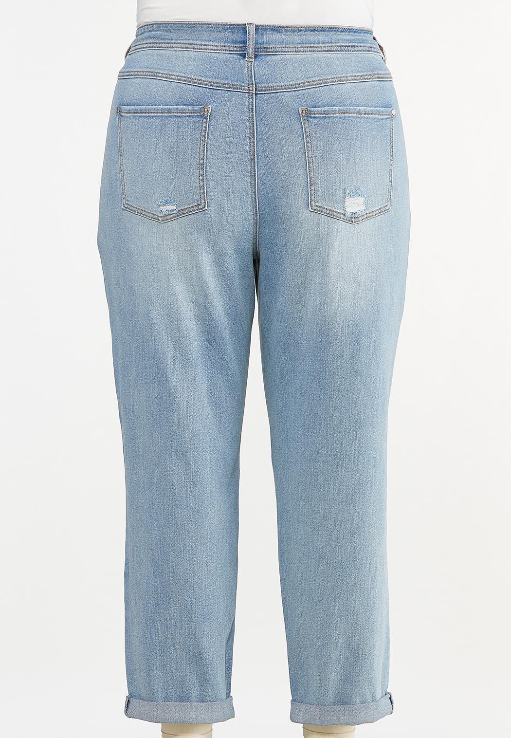 Plus Size Distressed Boyfriend Jeans (Item #44643904)