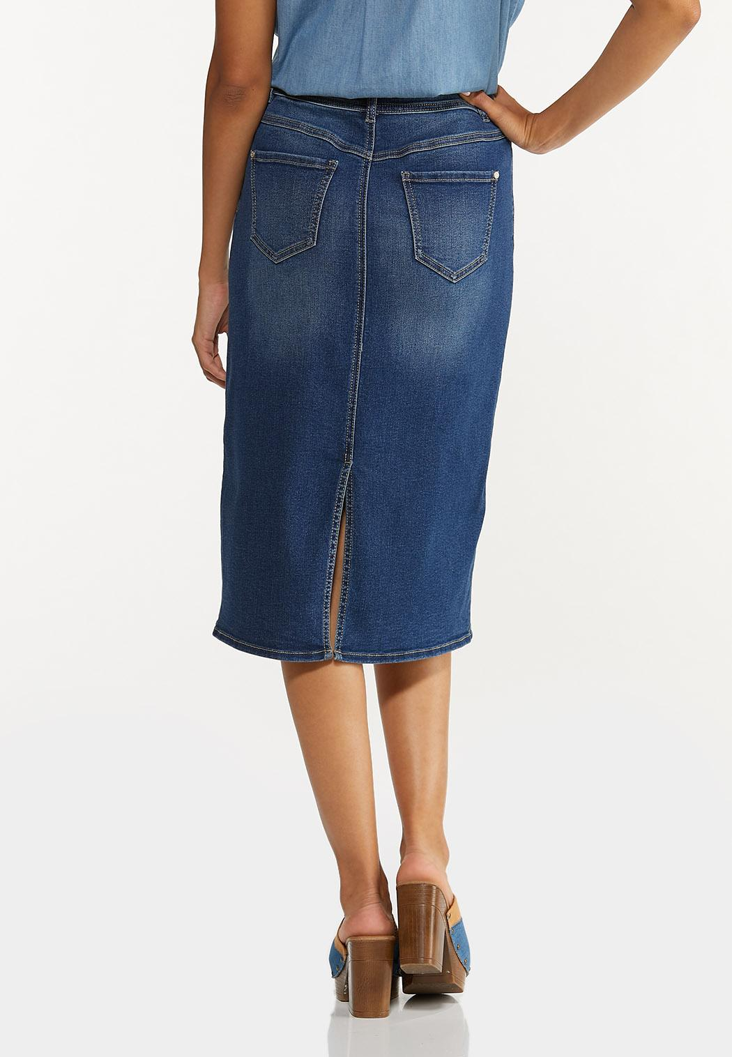 Plus Size Colorblock Denim Skirt (Item #44644033)