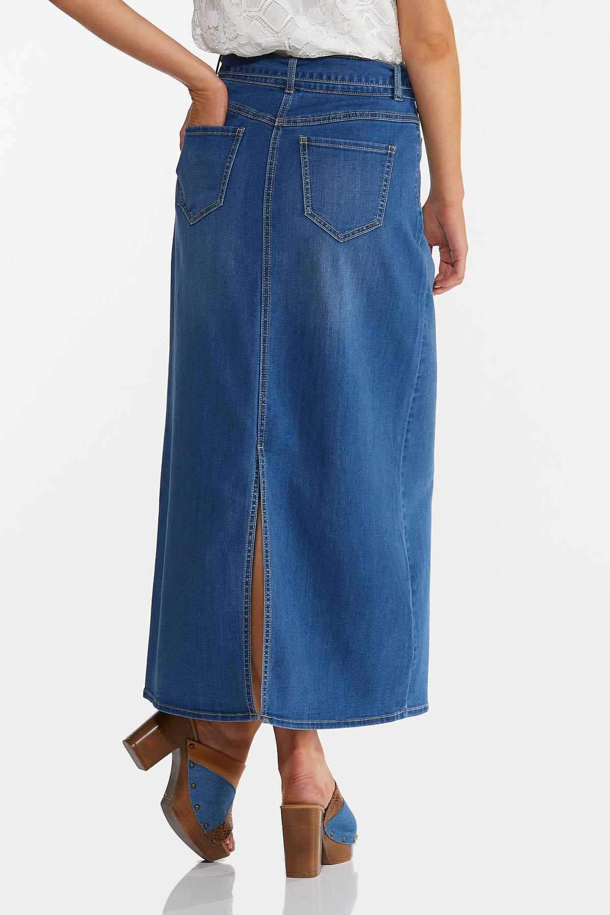 Plus Size Denim Tie Waist Maxi Skirt (Item #44644047)